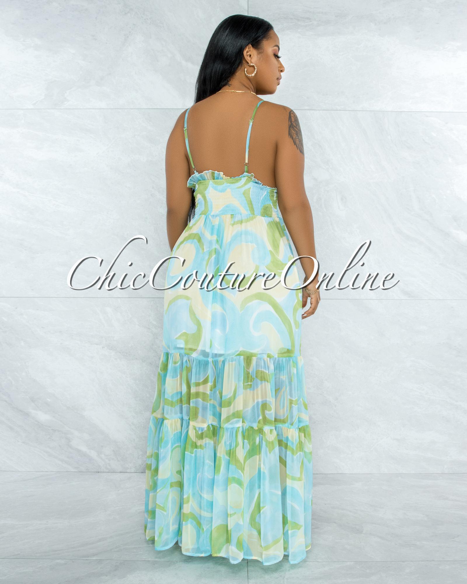 Fishel Blue Green Yellow  Print Ruffle Maxi Dress