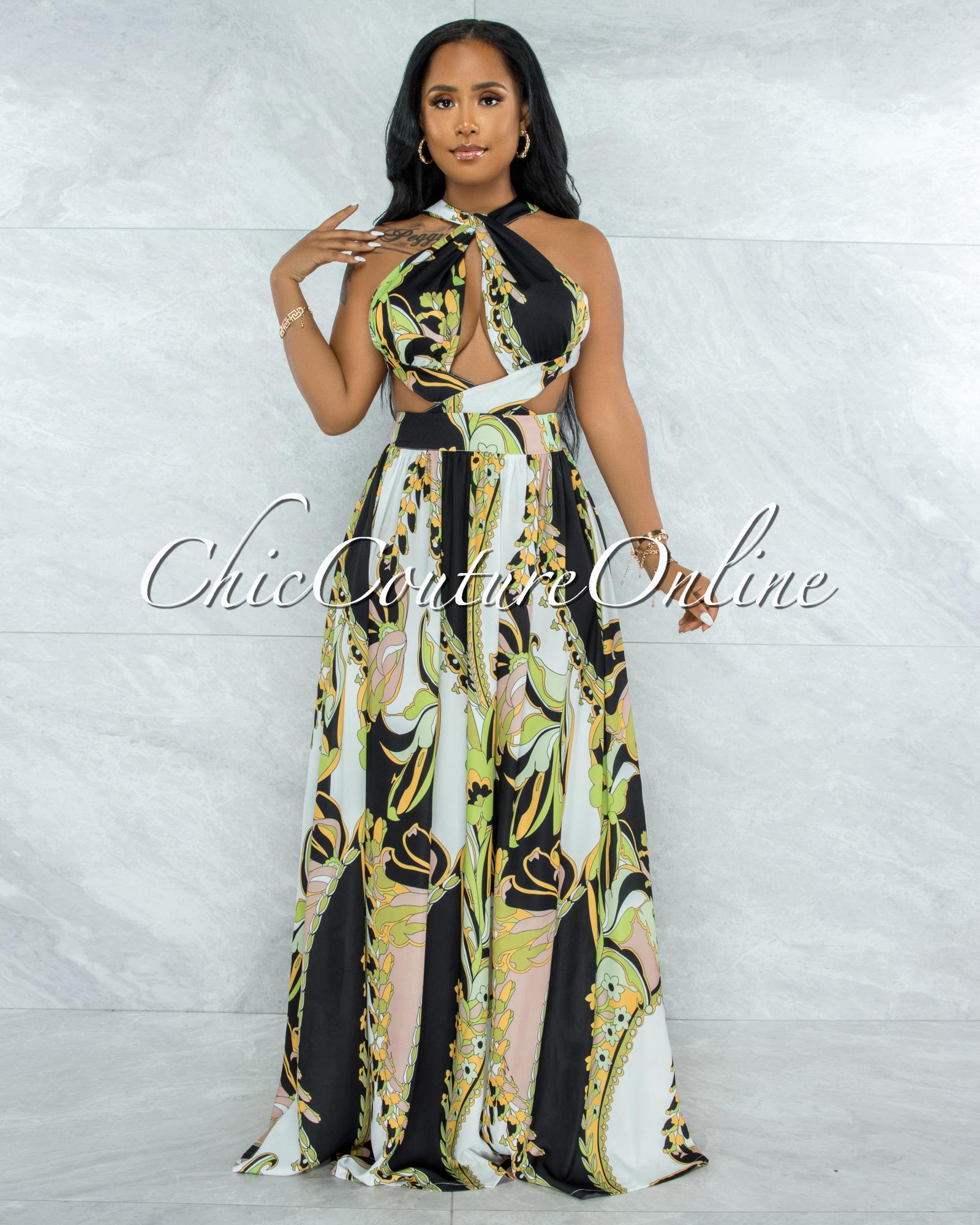 Hagley Black Green Multi-Color Print Halter Maxi Dress