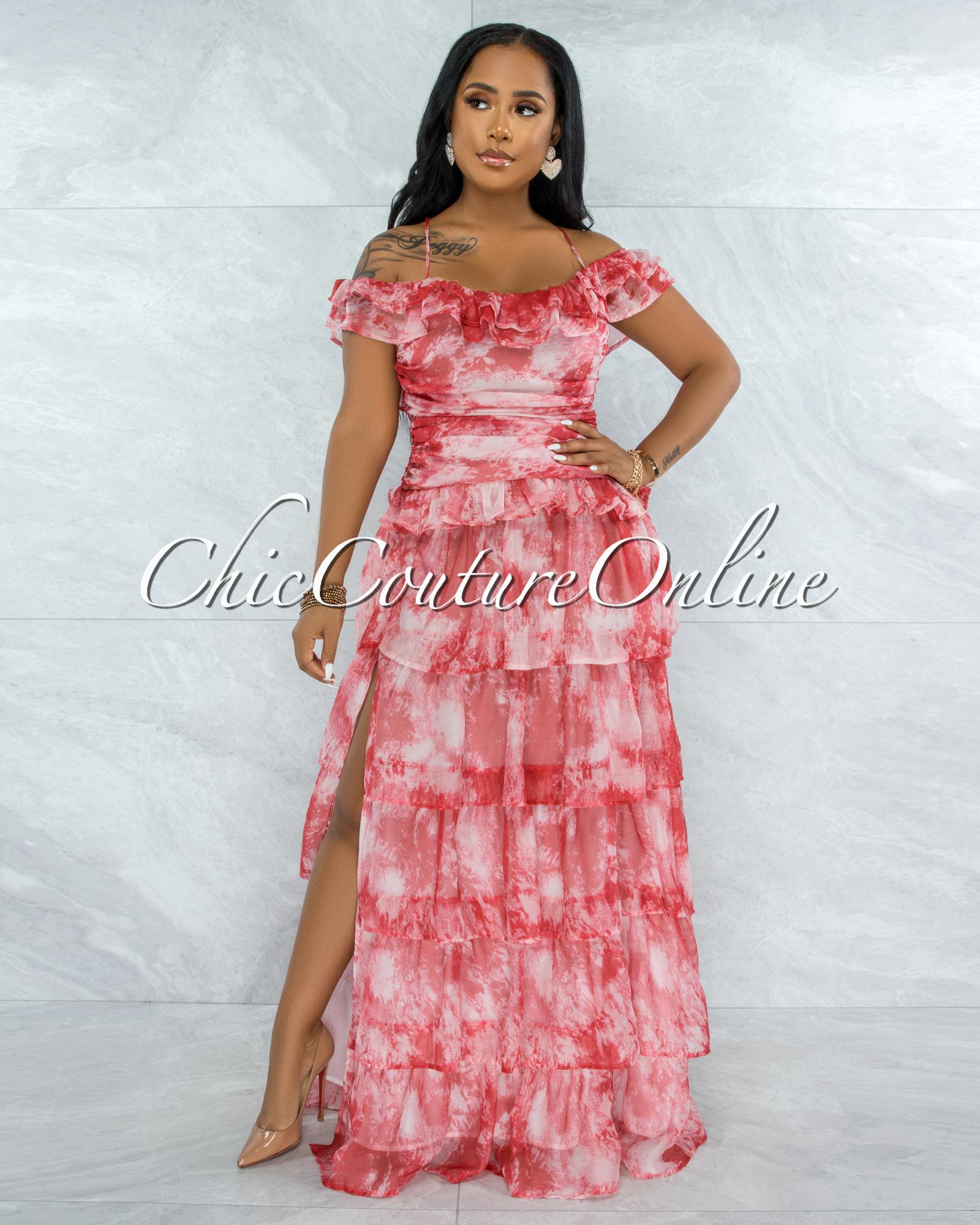 Keandre Red Tie-Dye Print Cold Shoulder Maxi Dress