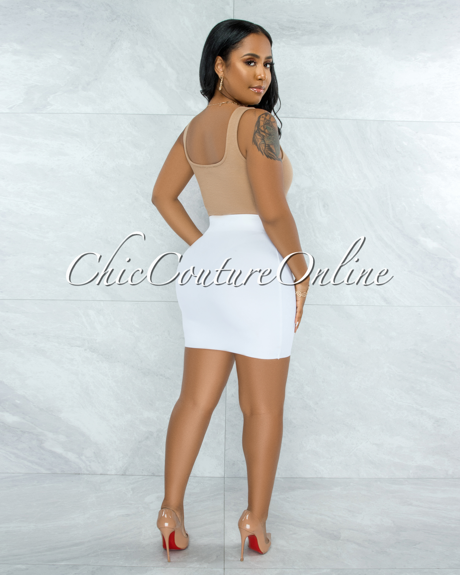 Ximena Tan Ribbed Trim Details Bodysuit