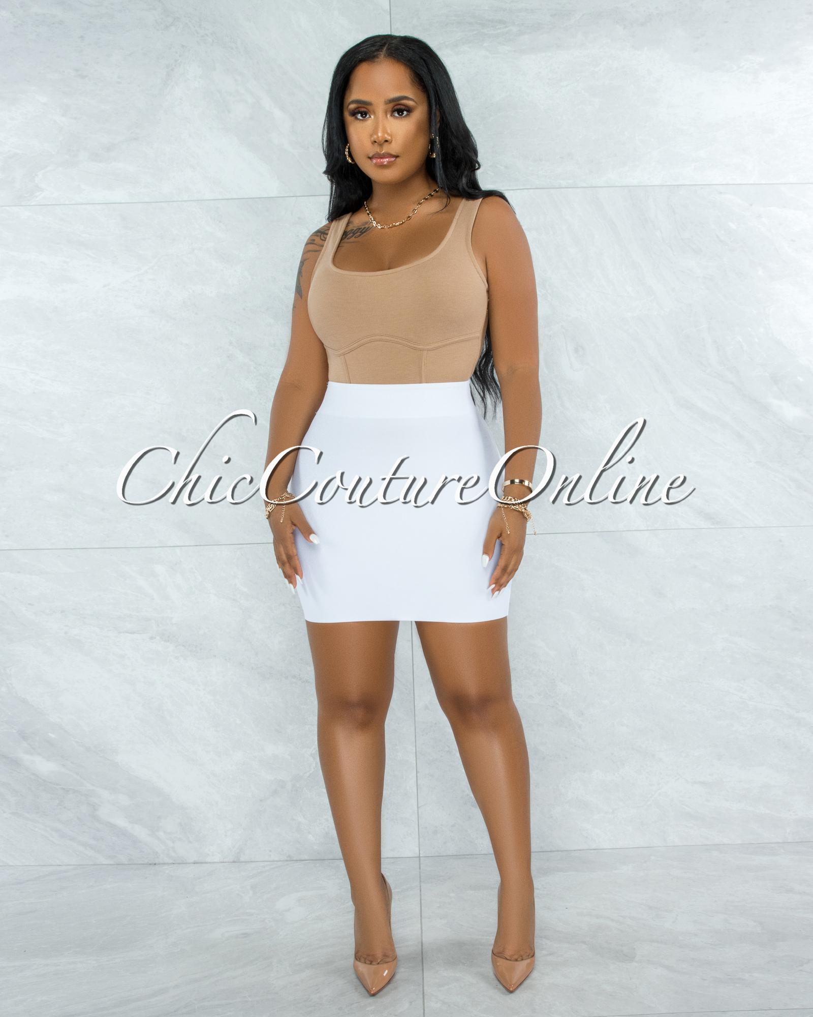 Darence White Body-Con Bandage Mini Skirt