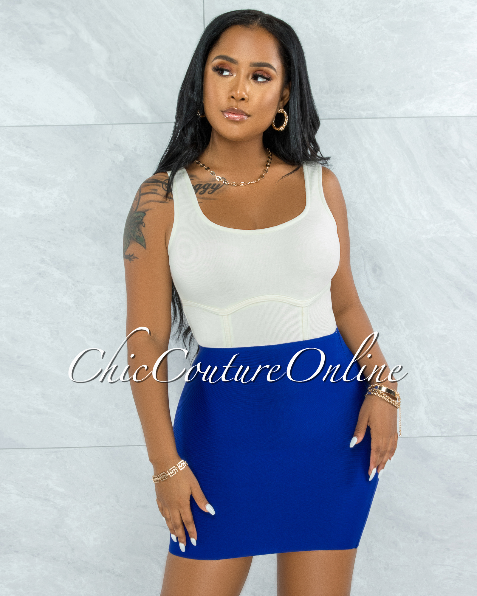 Darence Royal Blue Body-Con Bandage Mini Skirt