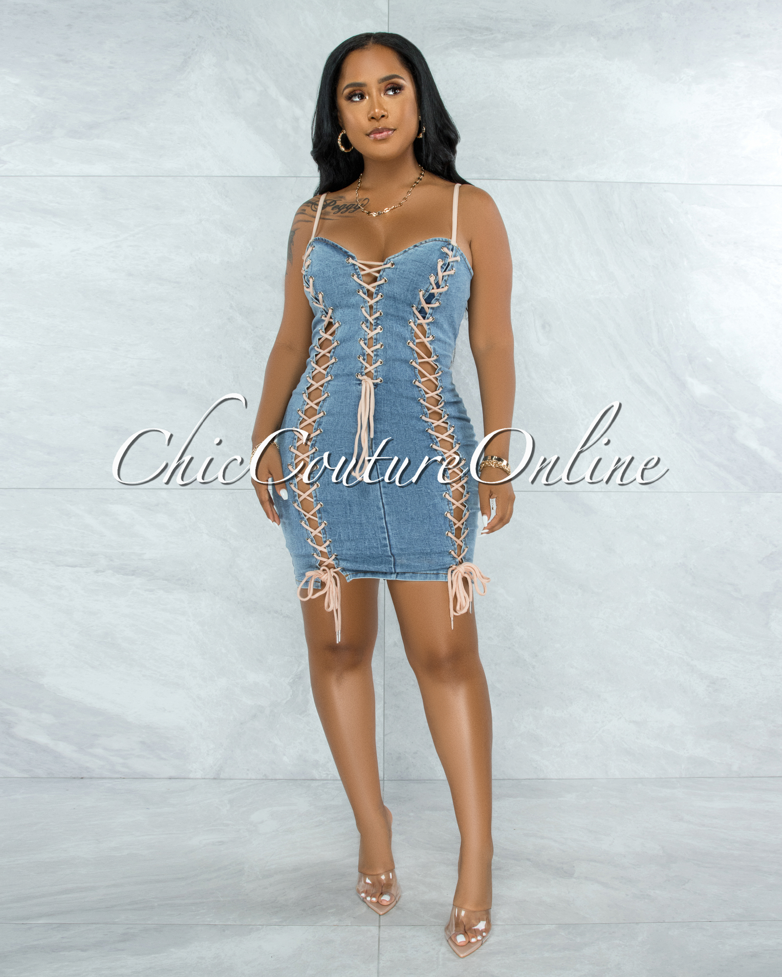Braun Light Denim  Nude Cord Lace-Up Dress