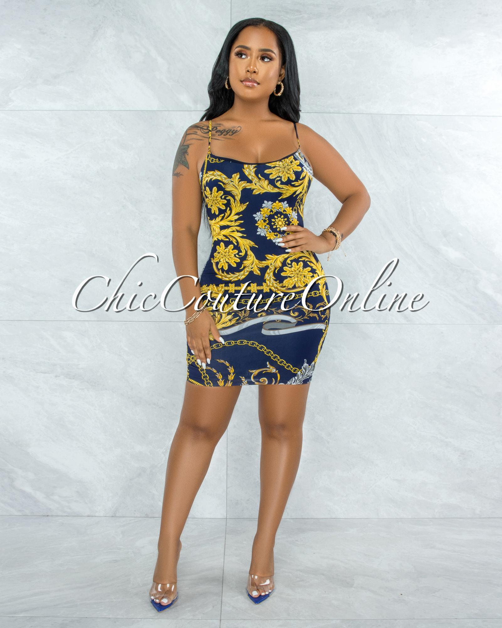 Gerodi Navy Blue Gold Print Mini Dress