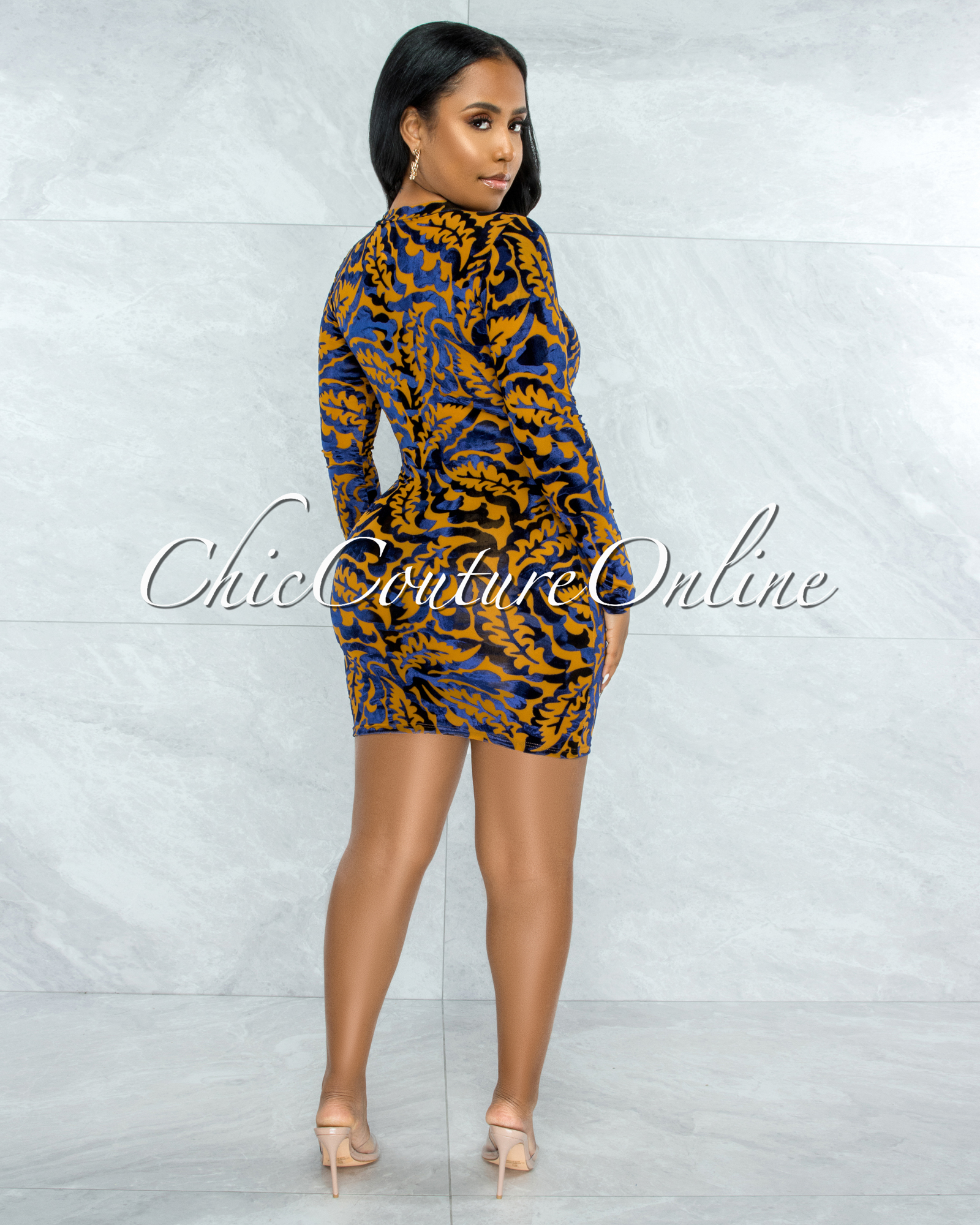 Montero Mustard Blue Velvet Print Sheer Zipper Accent Dress
