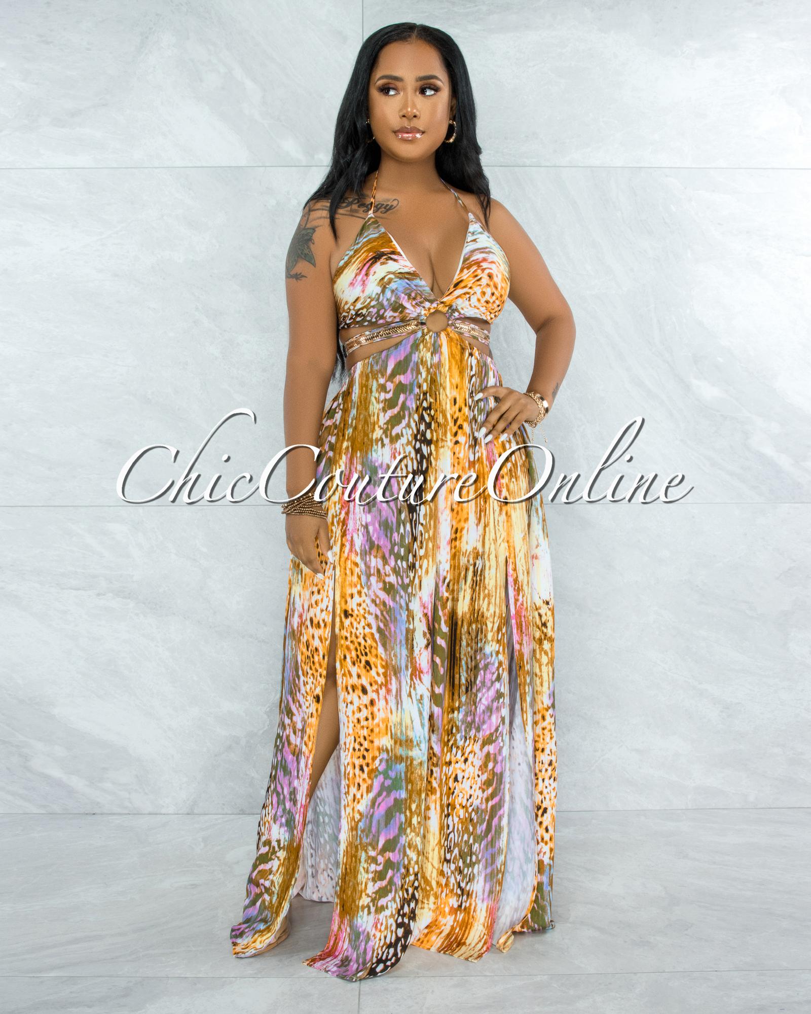 Tiara Brown Pink Print Cut-Out Sides Rhinestones Dress