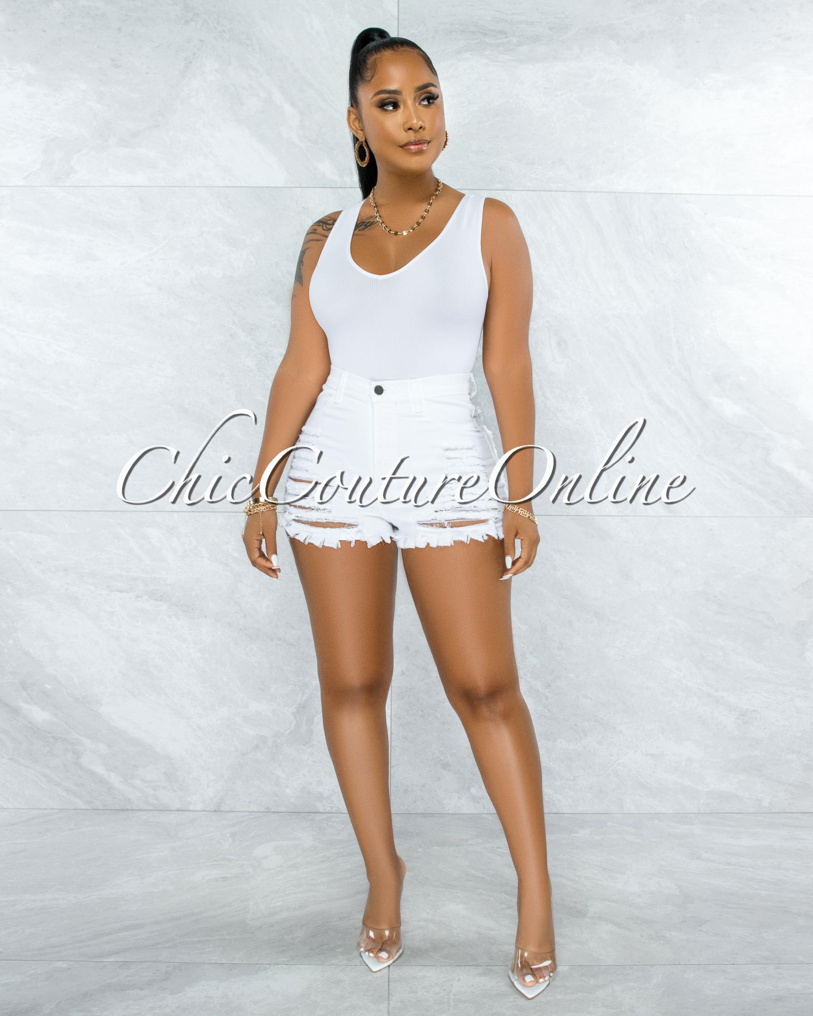 Busie White V-Neck Ribbed Body-Con Bodysuit