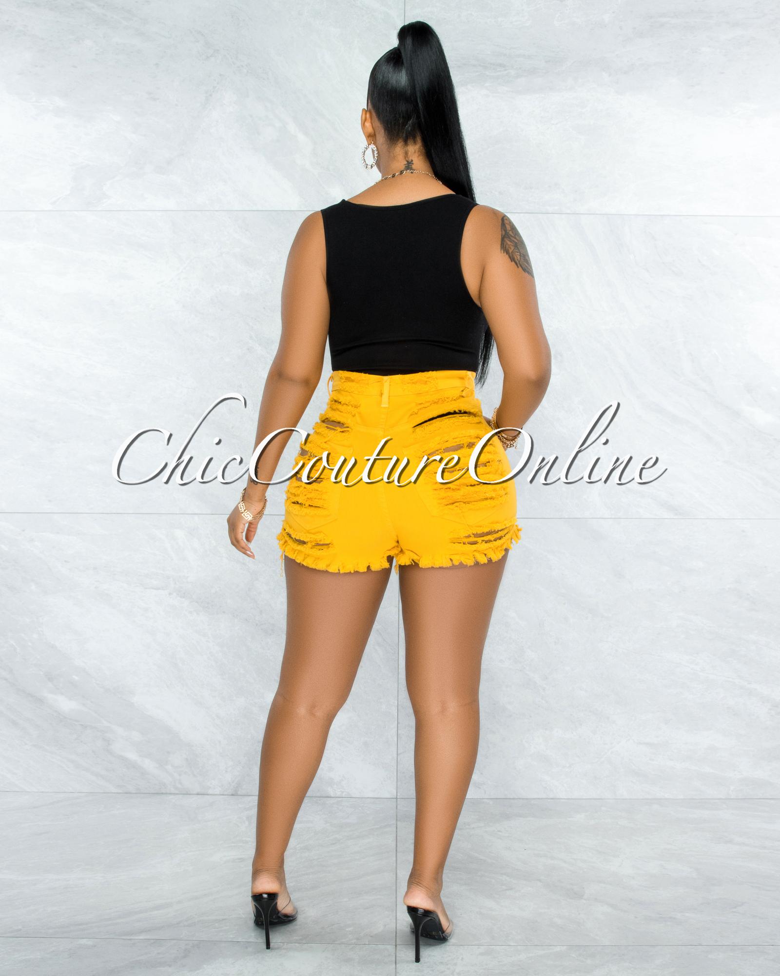 Carla Mustard Yellow Denim Distressed Shorts