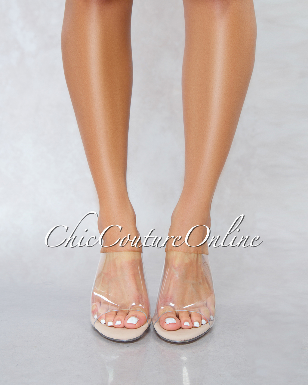 Allure Nude Clear Upper Clear Heel Sandals