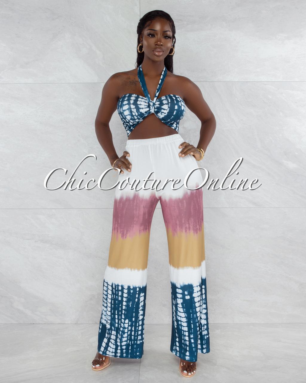 Vagas Ivory Navy Blue Front Tie Crop Top & Wide Legs Pants Set