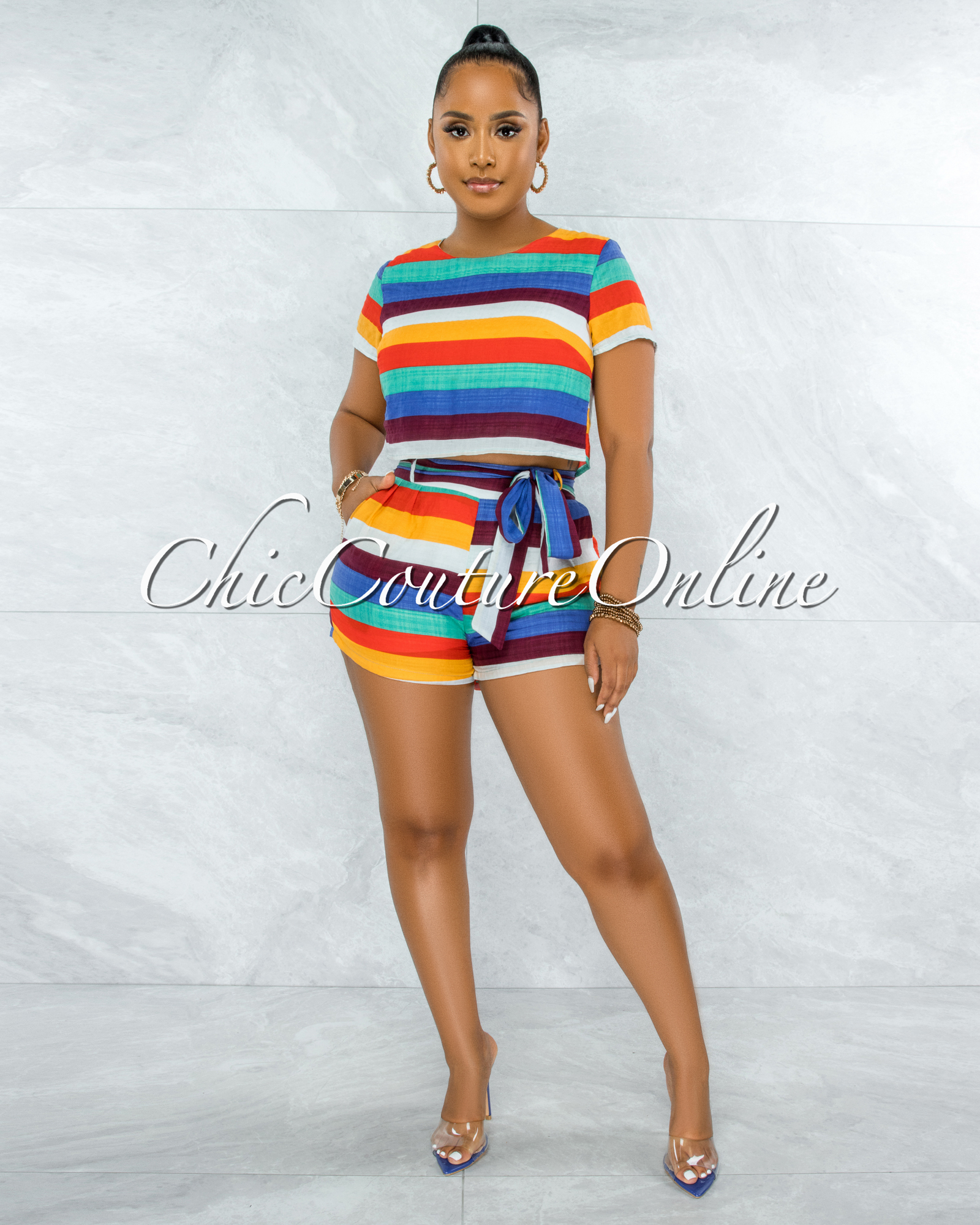 Brice Multi-Color Stripes Crop Top & Shorts Set