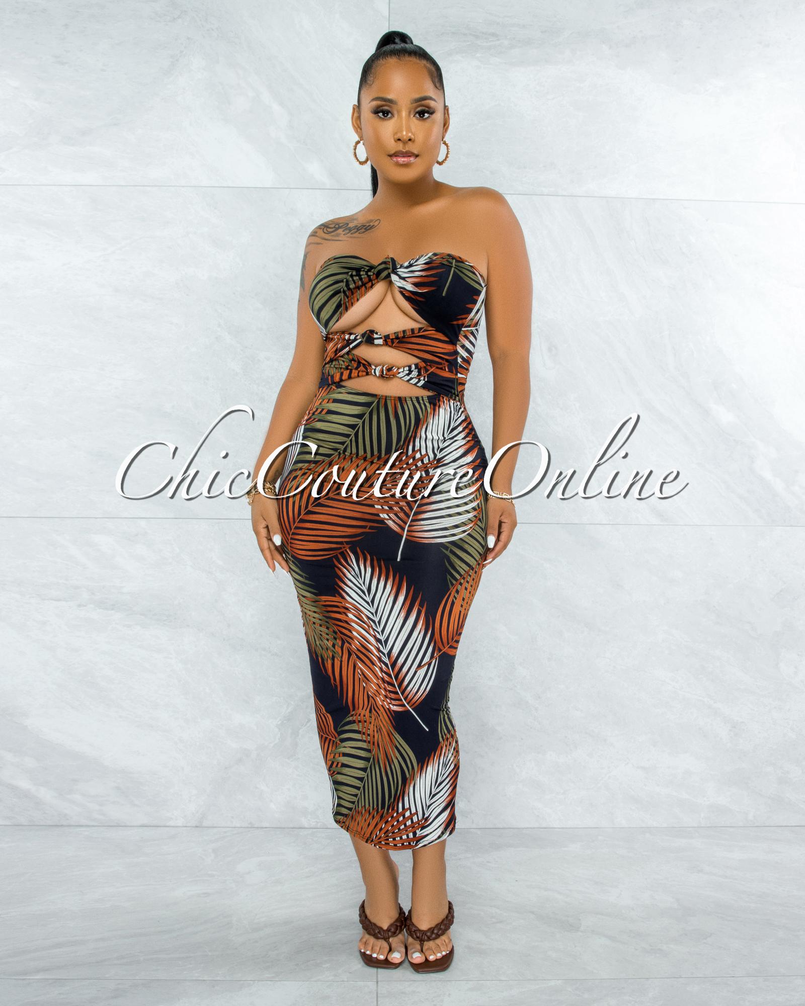 Cordula Black Brown Palm Print Triple Bow Top Midi Dress