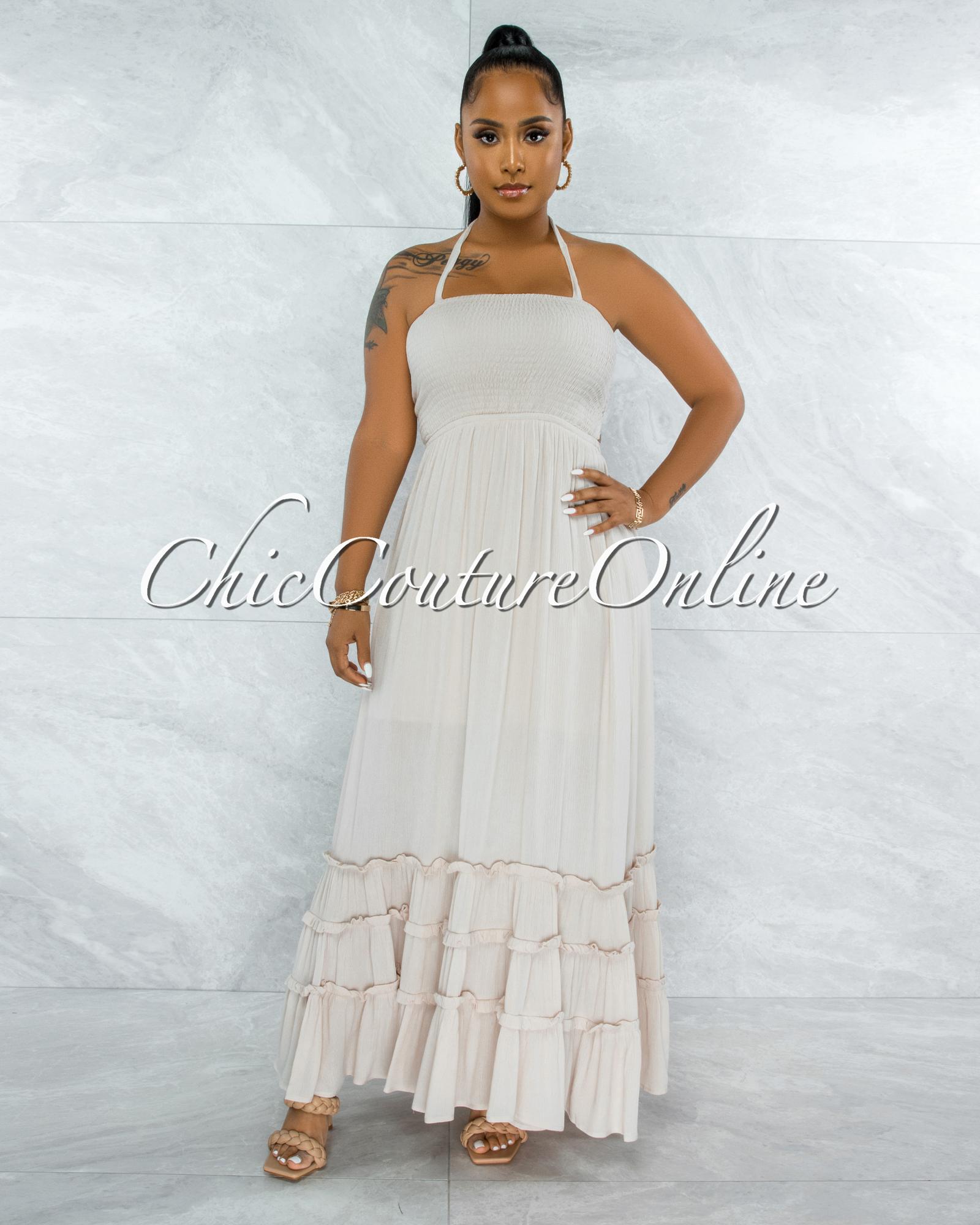 Hatiya Ivory Smocked Ruffle Strappy Back Maxi Dress