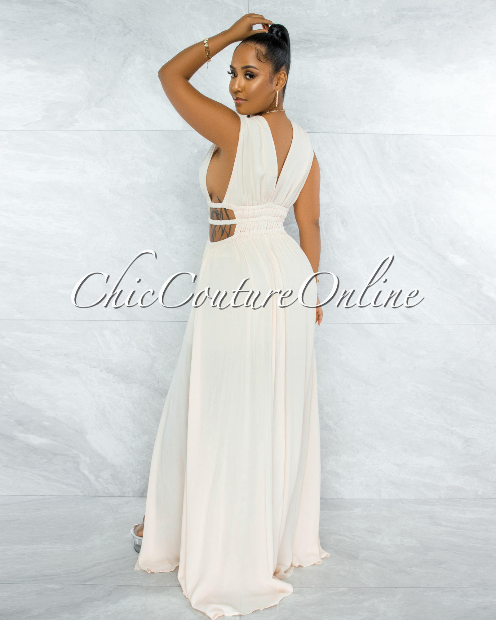 Jovana Cream Cut Out Strappy Sides Maxi Dress