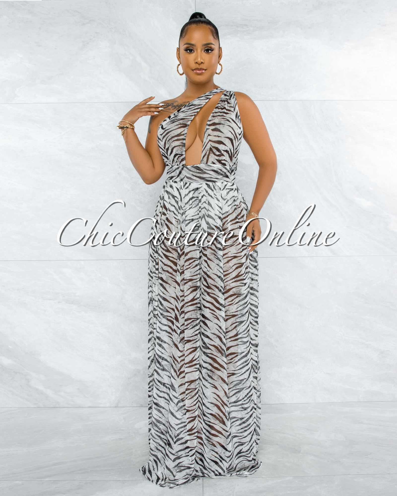 Kedma White Black Tiger Print Single Shoulder Bodysuit Sheer Dress