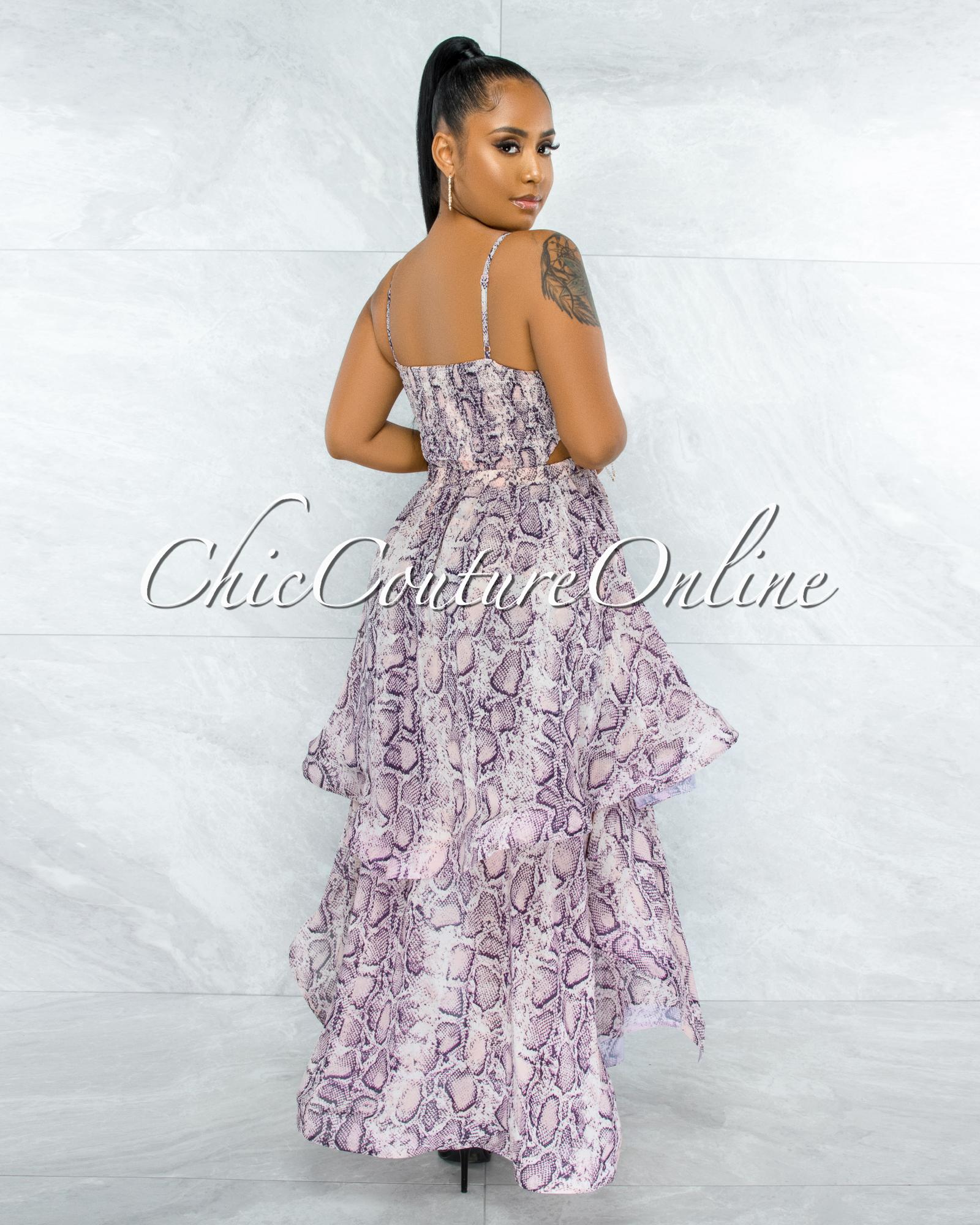 Lecia Pink Snake Print Ruffle Maxi Dress