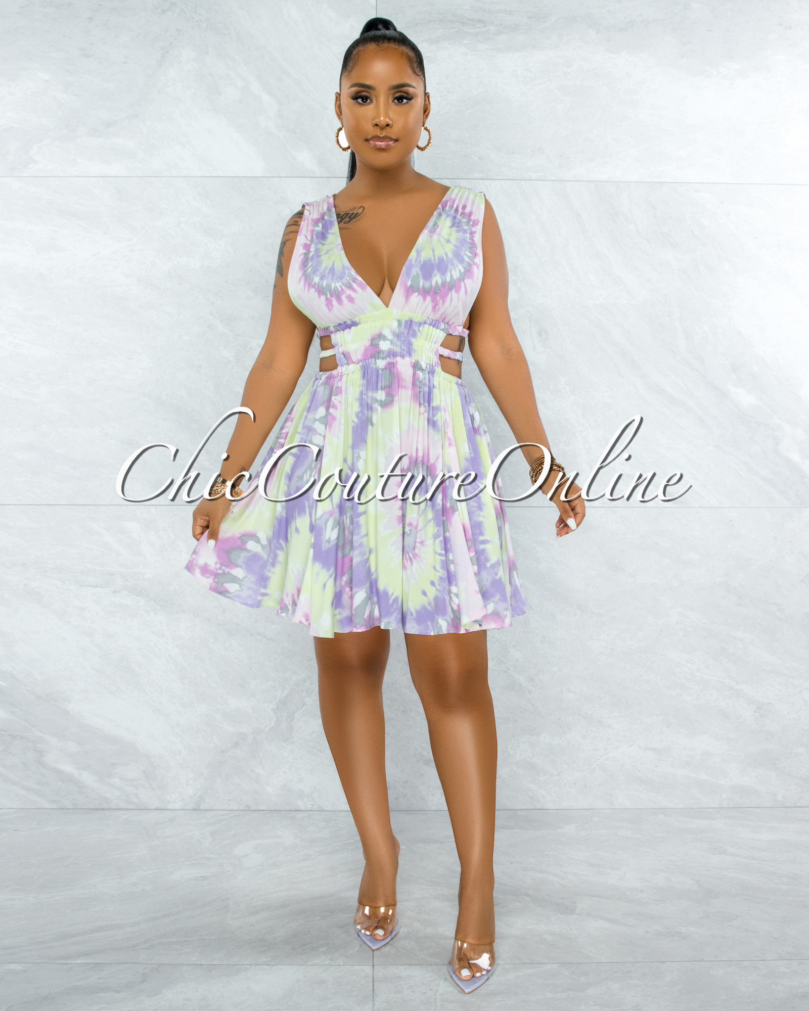 Canika Pink Green Tie-Dye Cut-Out Strappy Sides Skater Dress