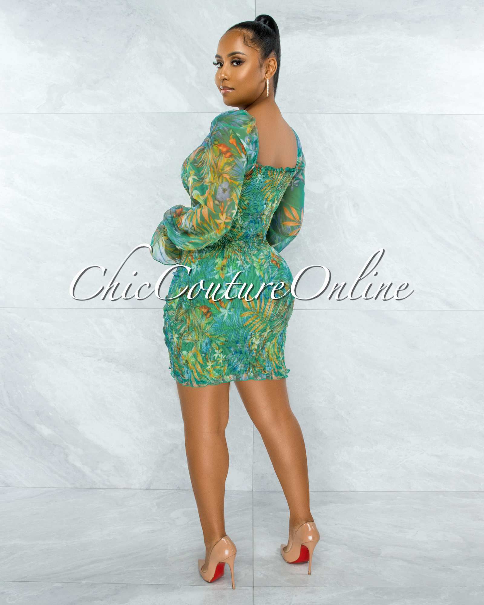 Danica Green Floral Print Smocked Ruched Dress