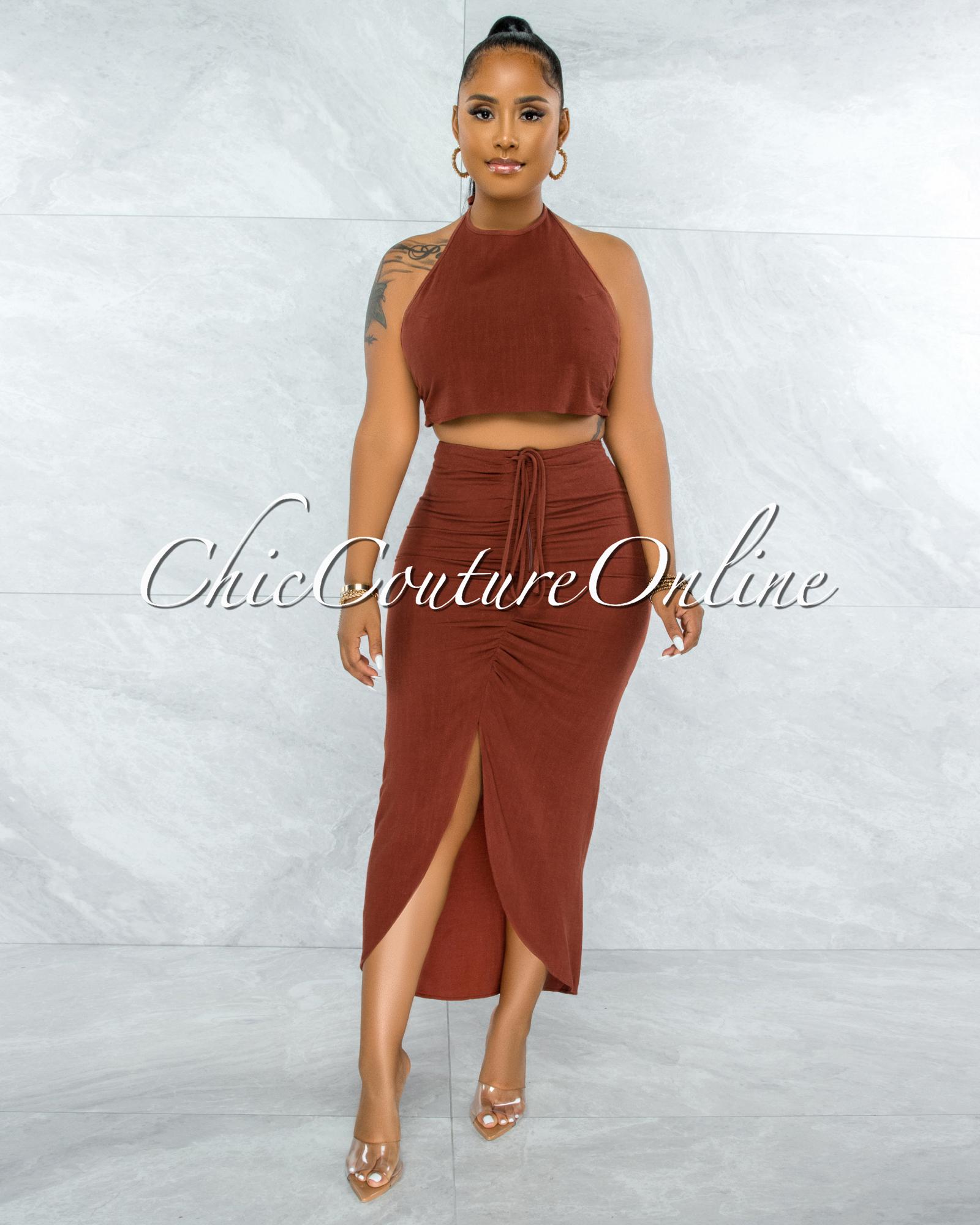 Juana Rust Halter Crop Top & Ruched Skirt Set