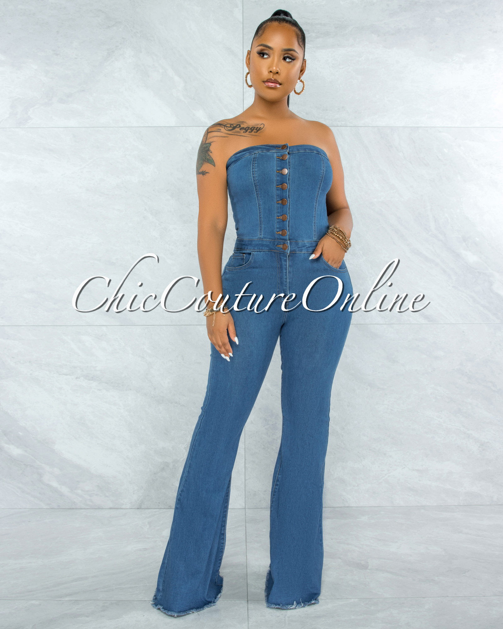 Lenusy Medium Blue Denim Strapless Bell Legs Jumpsuit