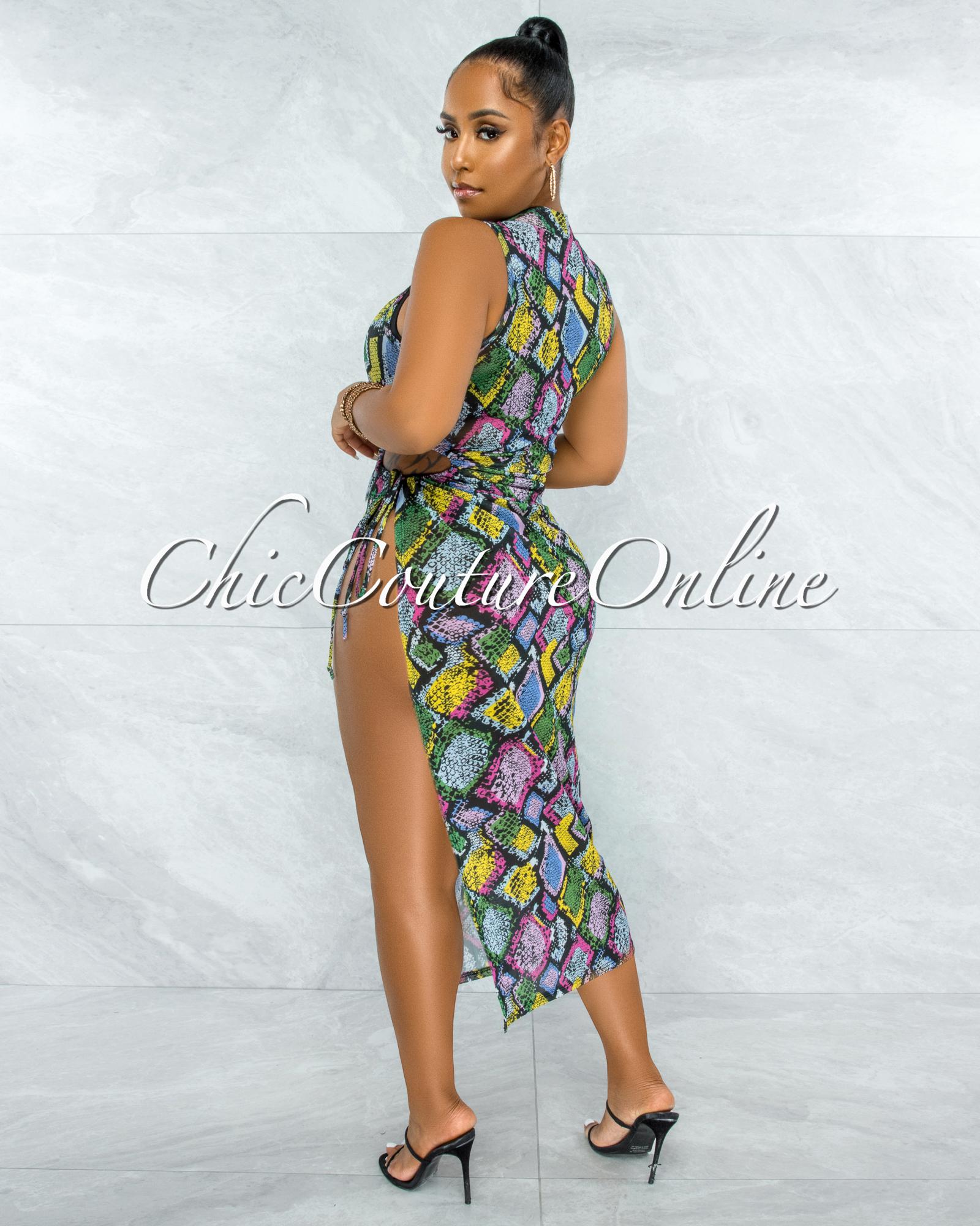 Nicosia Black Snake Print Side Key-Hole Tie Mesh Dress