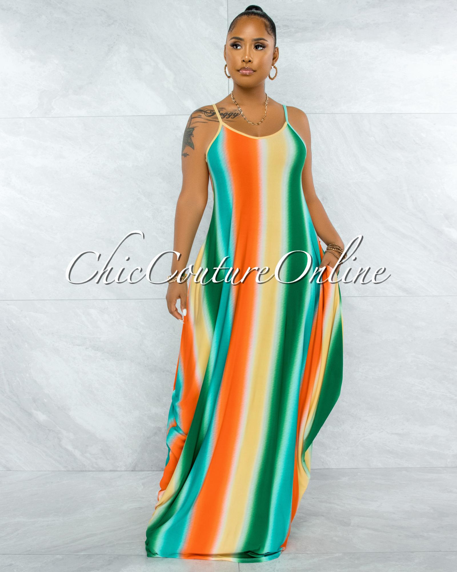 Lehava Orange Green Ombre Print Maxi Shirt Dress