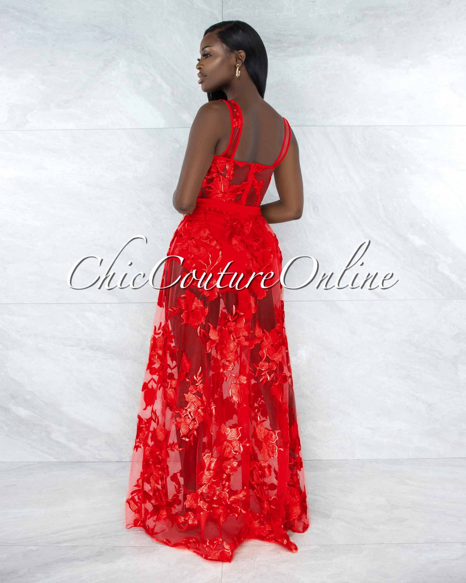 Lidonie Red Embroidery Mesh Maxi Padded Dress