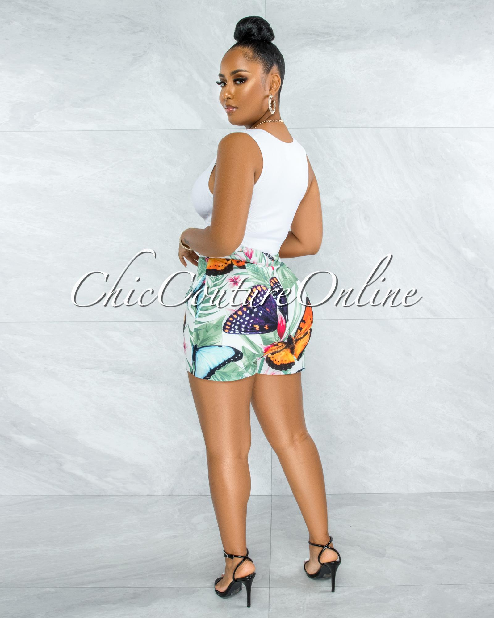 Jocasta Green Leaf Butterfly Print Blazer & Shorts Set
