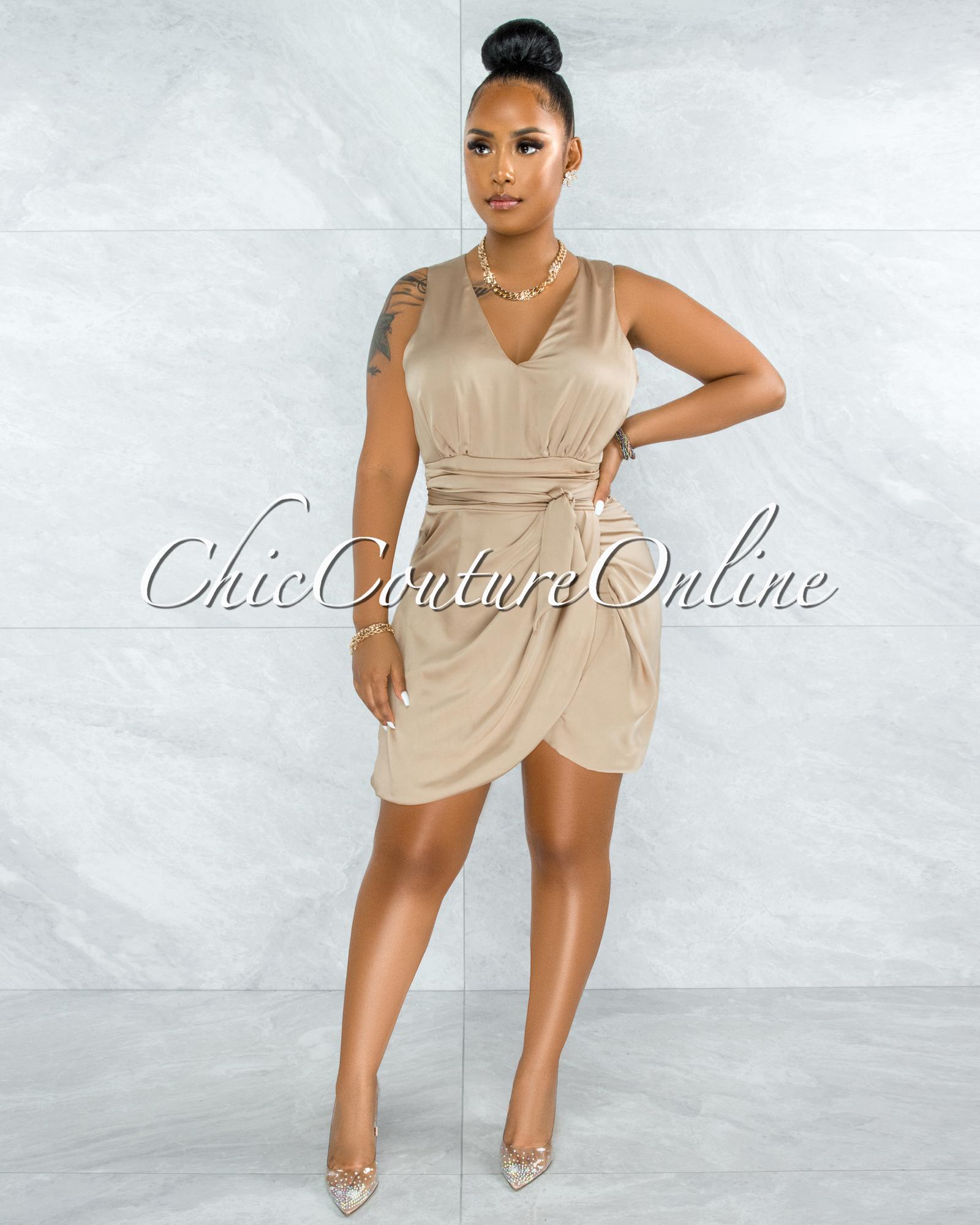 Pacifica Gold Draped Wrap Hem Mini Satin Dress
