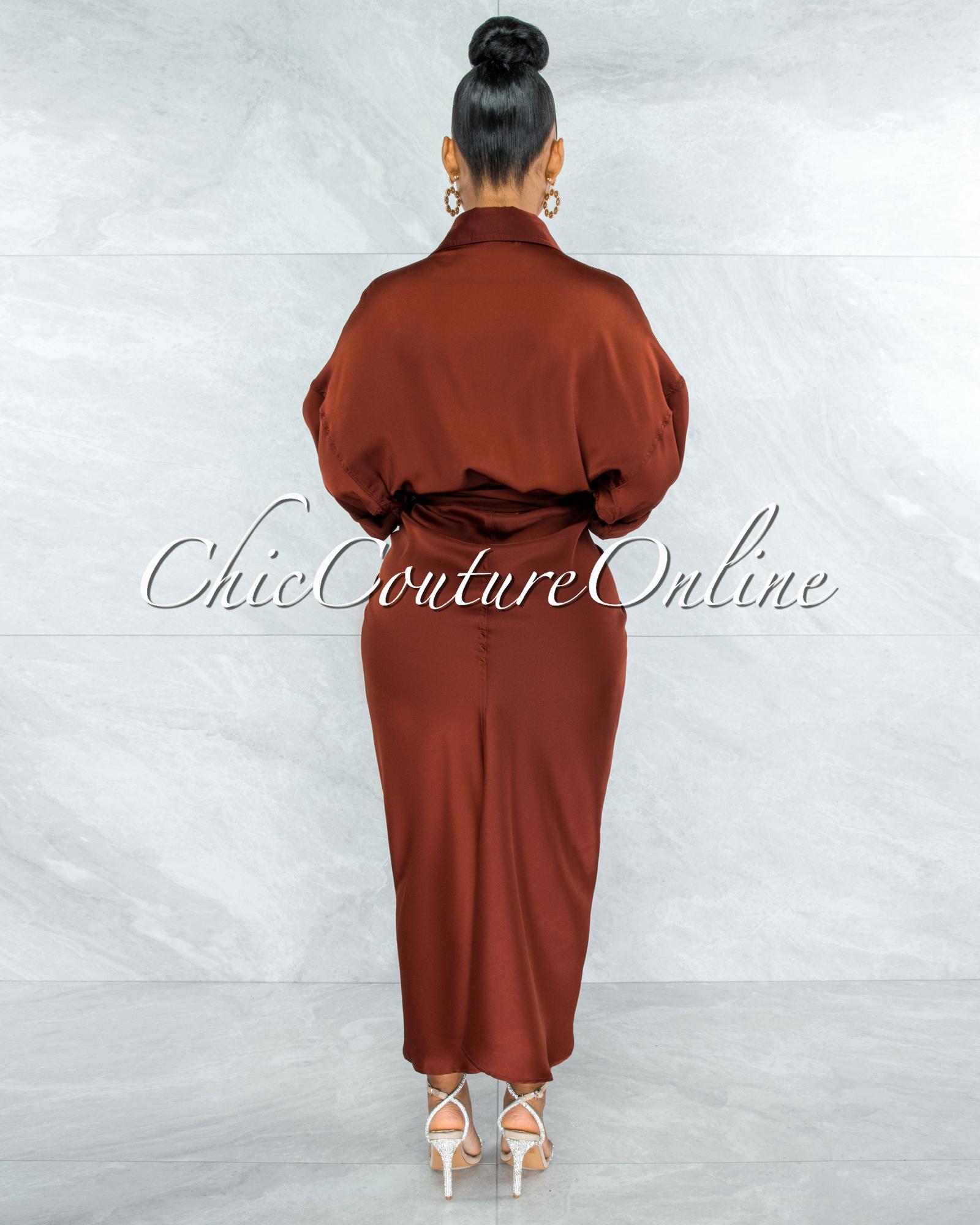 Odera Cognac Draped Front Tie Shirt Maxi Satin Dress