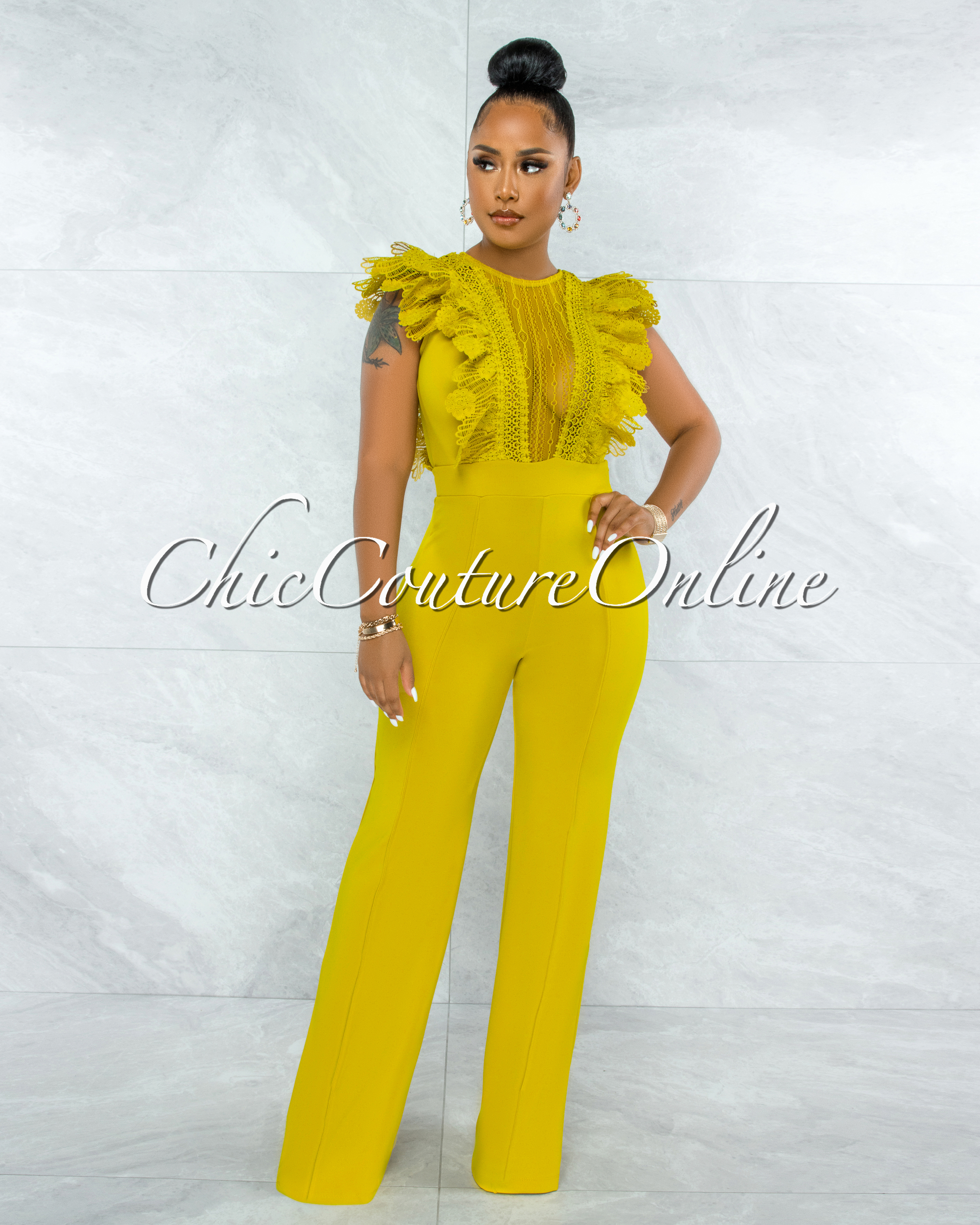 Caramelo Lime Yellow Lace Sheer Top Crochet Jumpsuit
