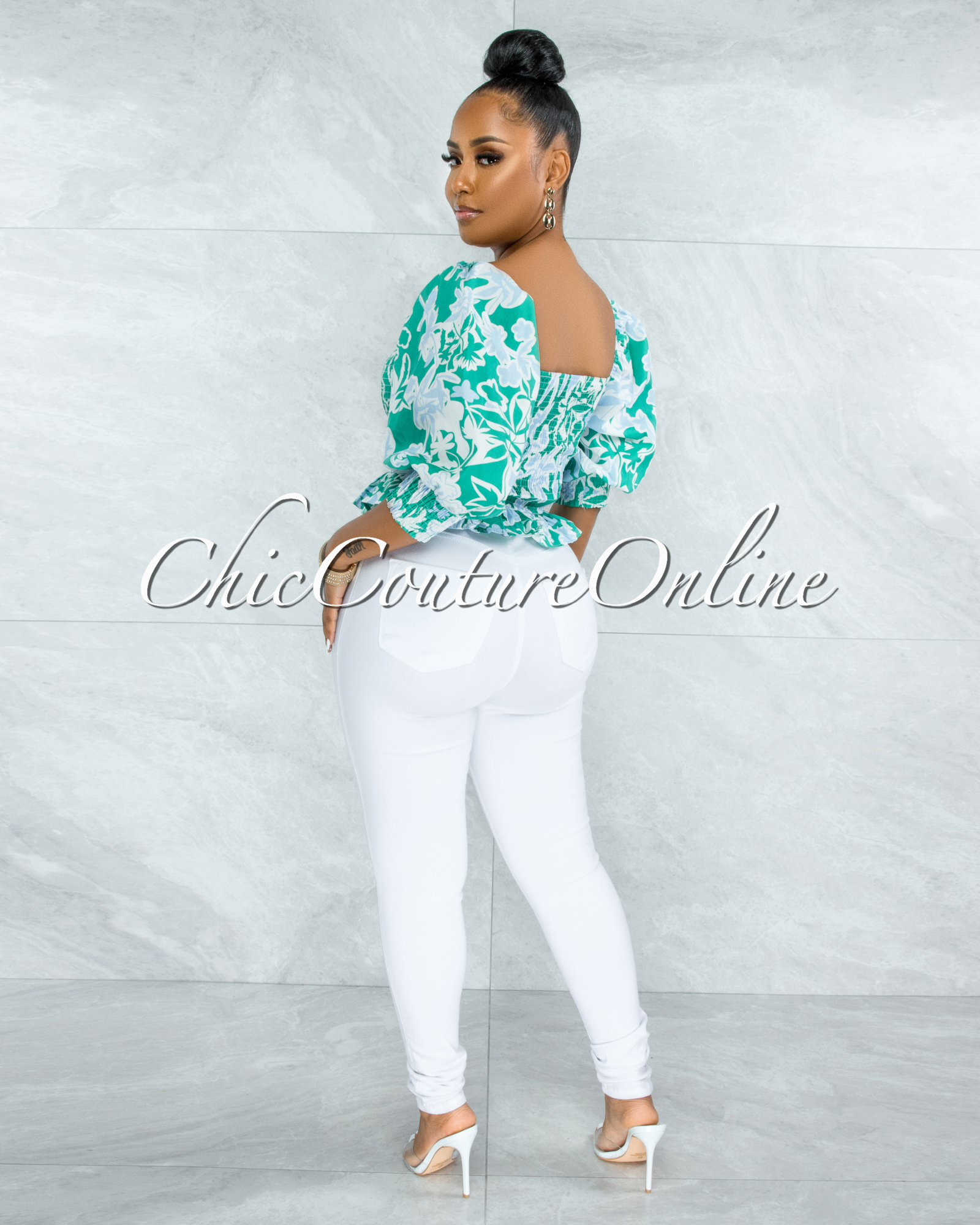 Pyrena Green Blue Print Smocked Bubble Sleeves Crop Top