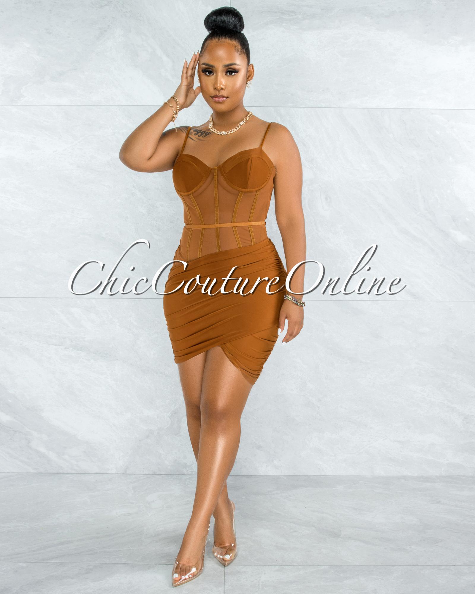 Wauna Camel Mesh Ruched Corset Dress