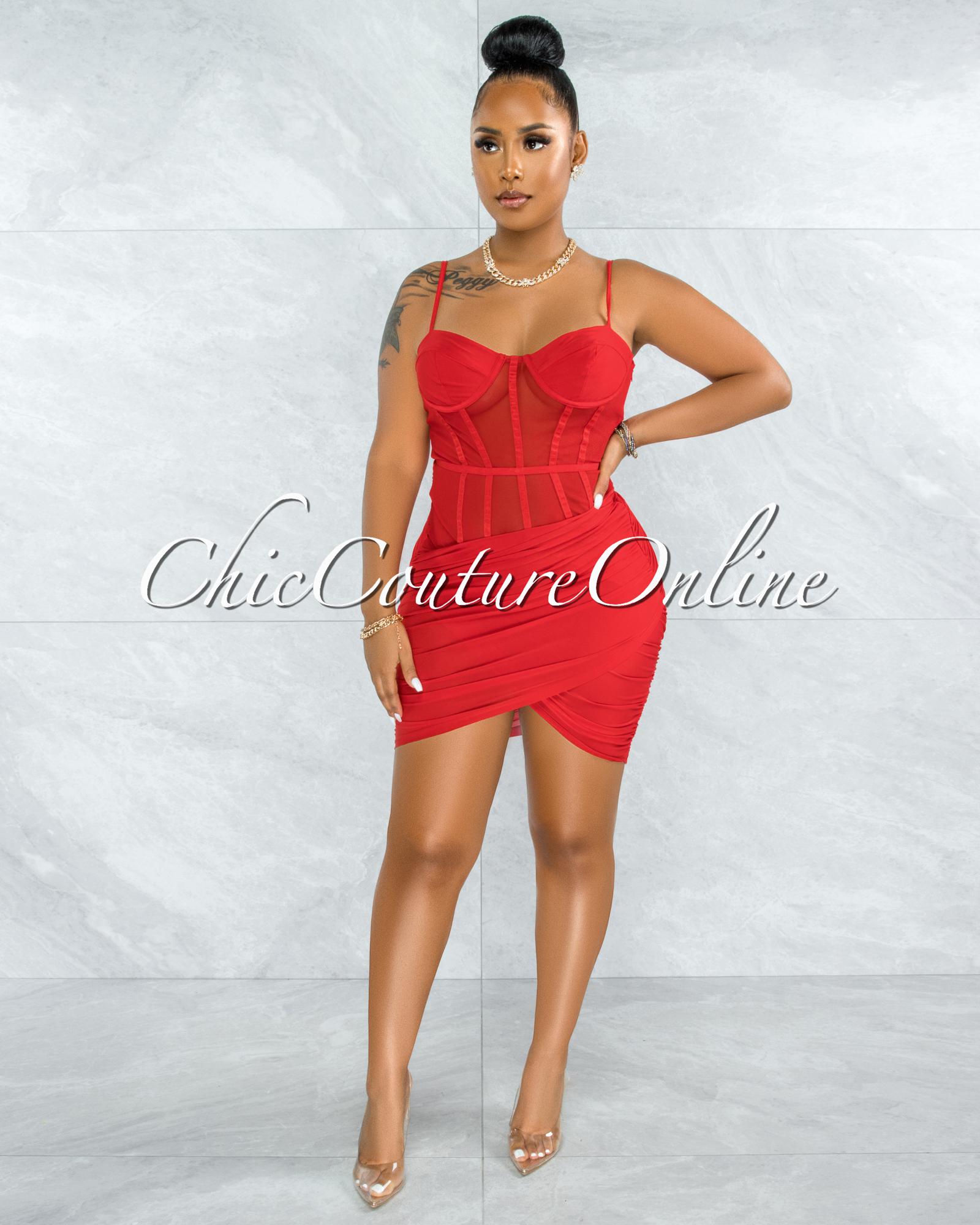 Wauna Red Mesh Ruched Corset Dress