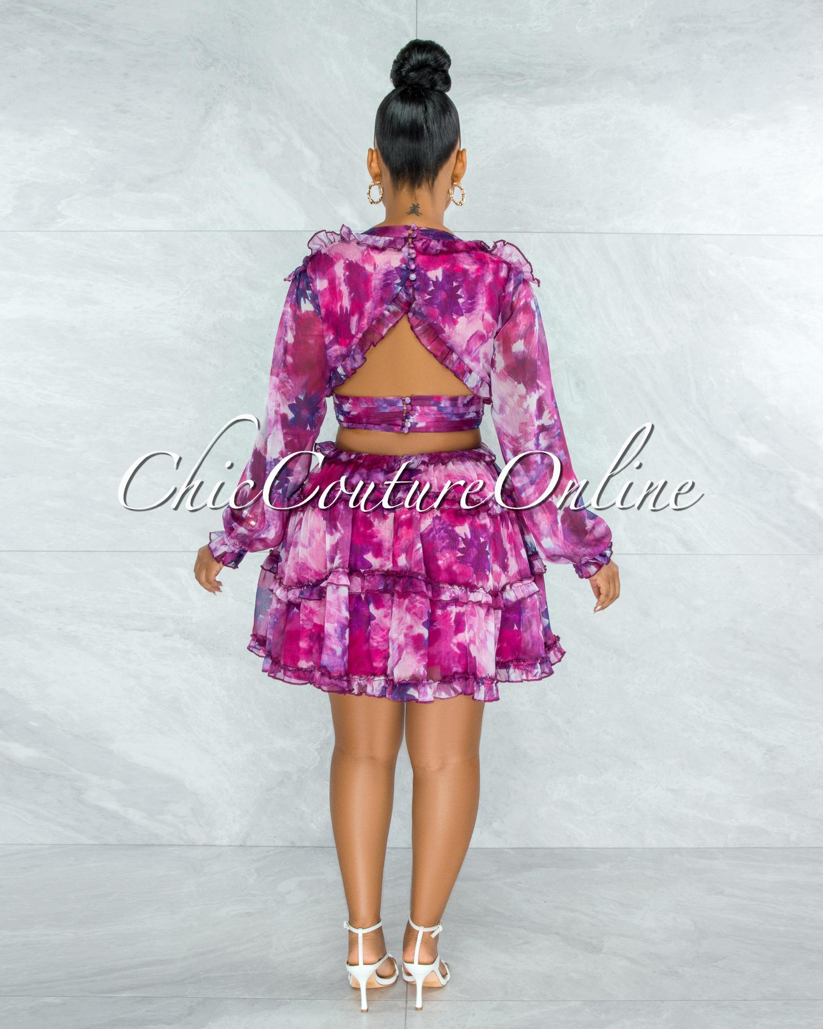 Fanta Fuchsia Purple Print Waist Cut-Out Ruffle Dress