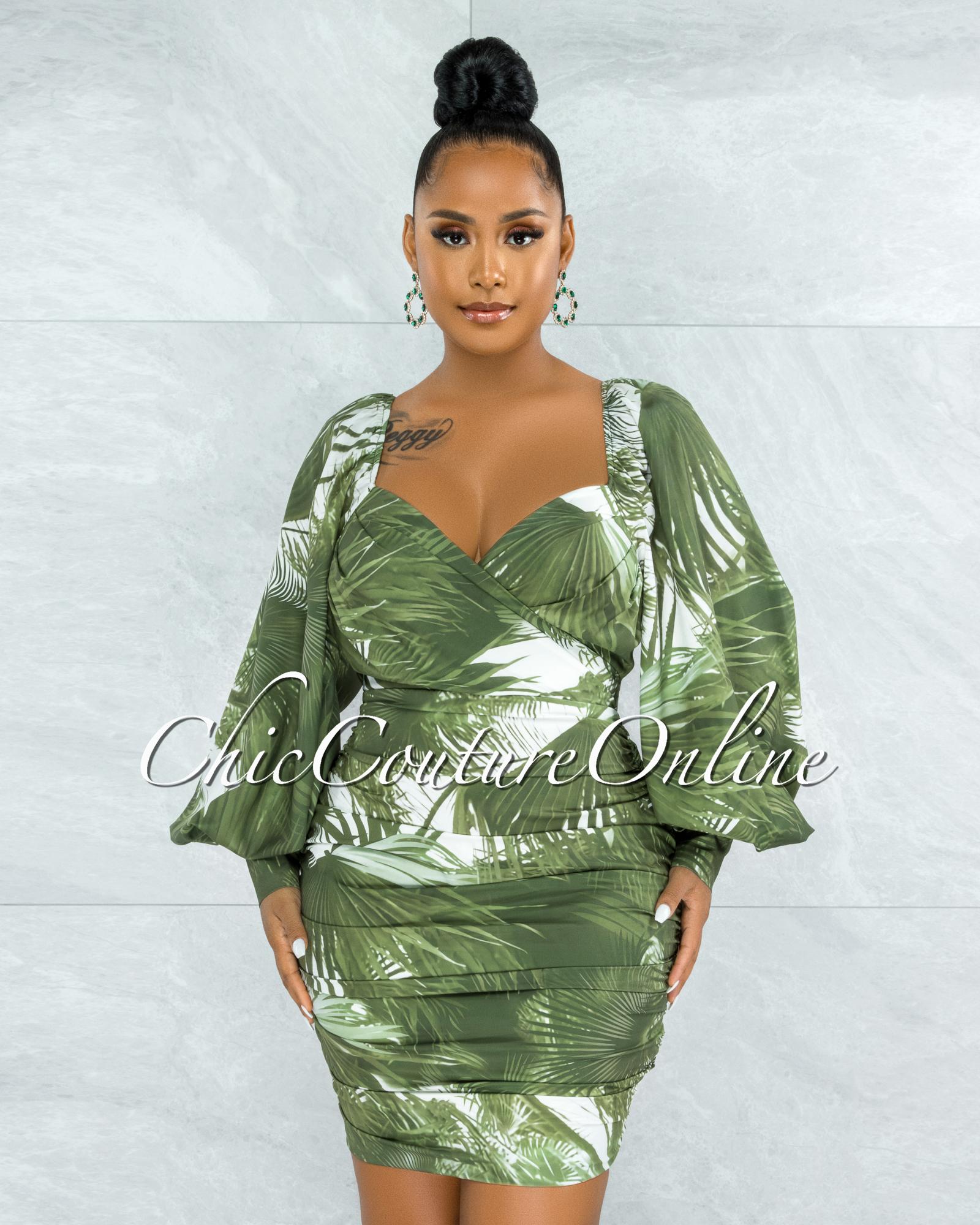Lemuela Olive Green Palm Print Ruched Mini Dress