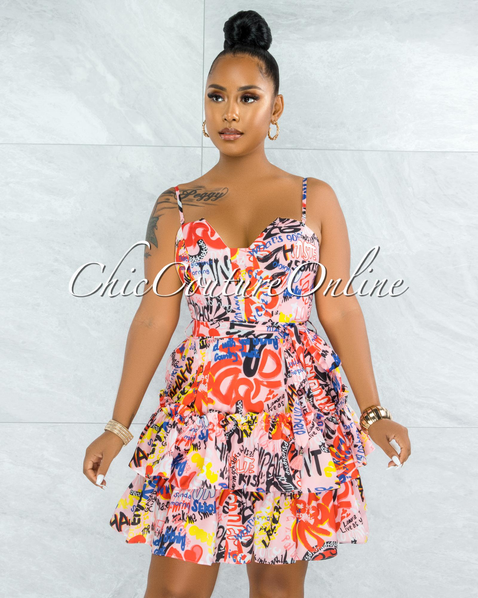 Ondrea Pink Graffiti Print Strappy Open Back Mini Dress