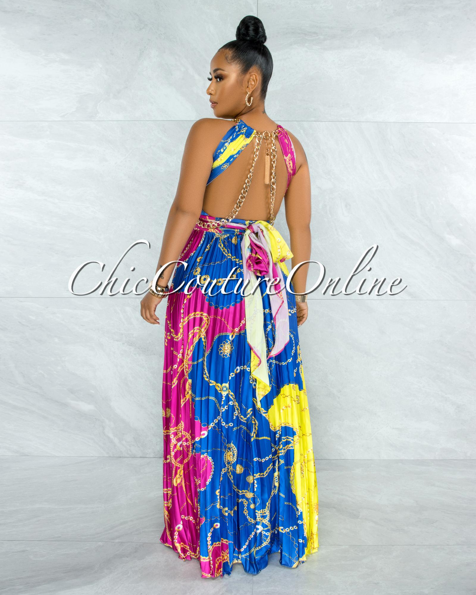 Yanessa Blue Fuchsia Gold Link Straps Halter Maxi Dress