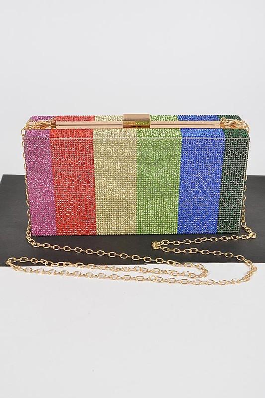 Taina Rainbow Rhinestones Clutch Bag