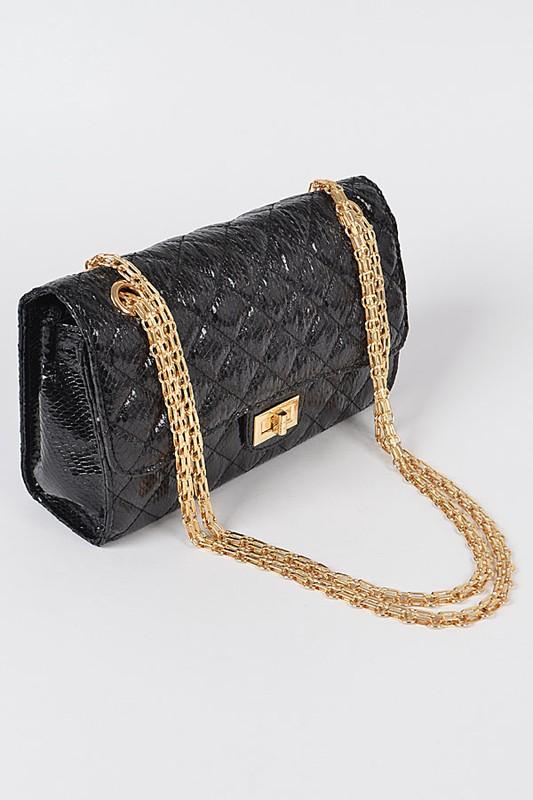 Lara Black Shiny Snake Pattern Cross Body Bag