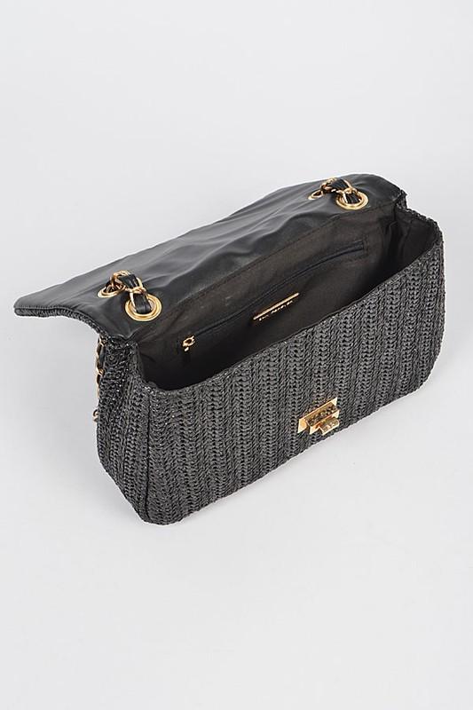 Tessa Natural Faux Straw Shoulder Bag