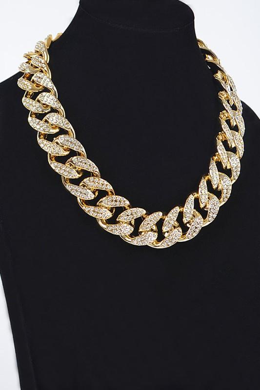Marina Gold Oversized Stone Chain Necklace
