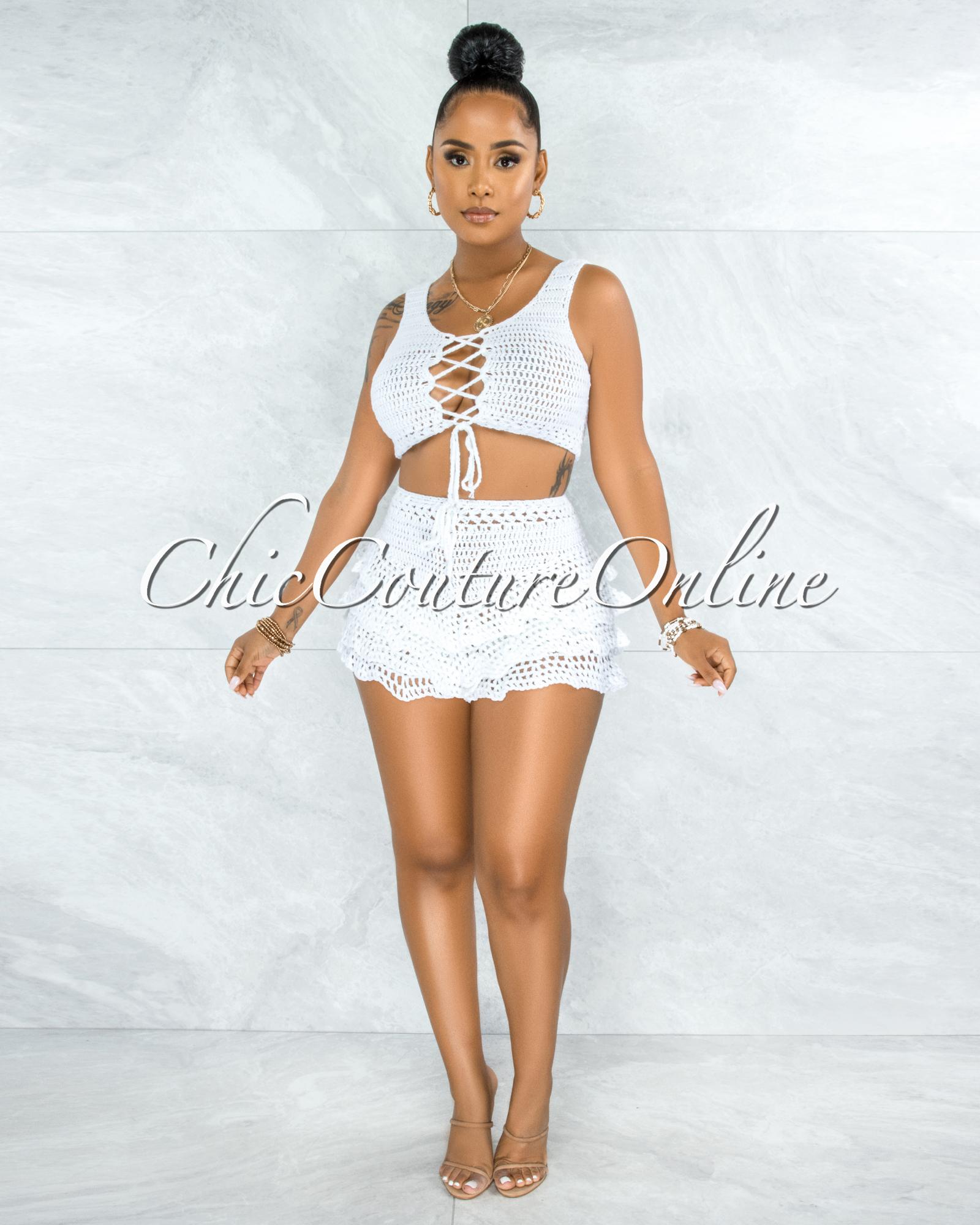 Leary Off White Crochet Cover-Up Ruffle Skort Set