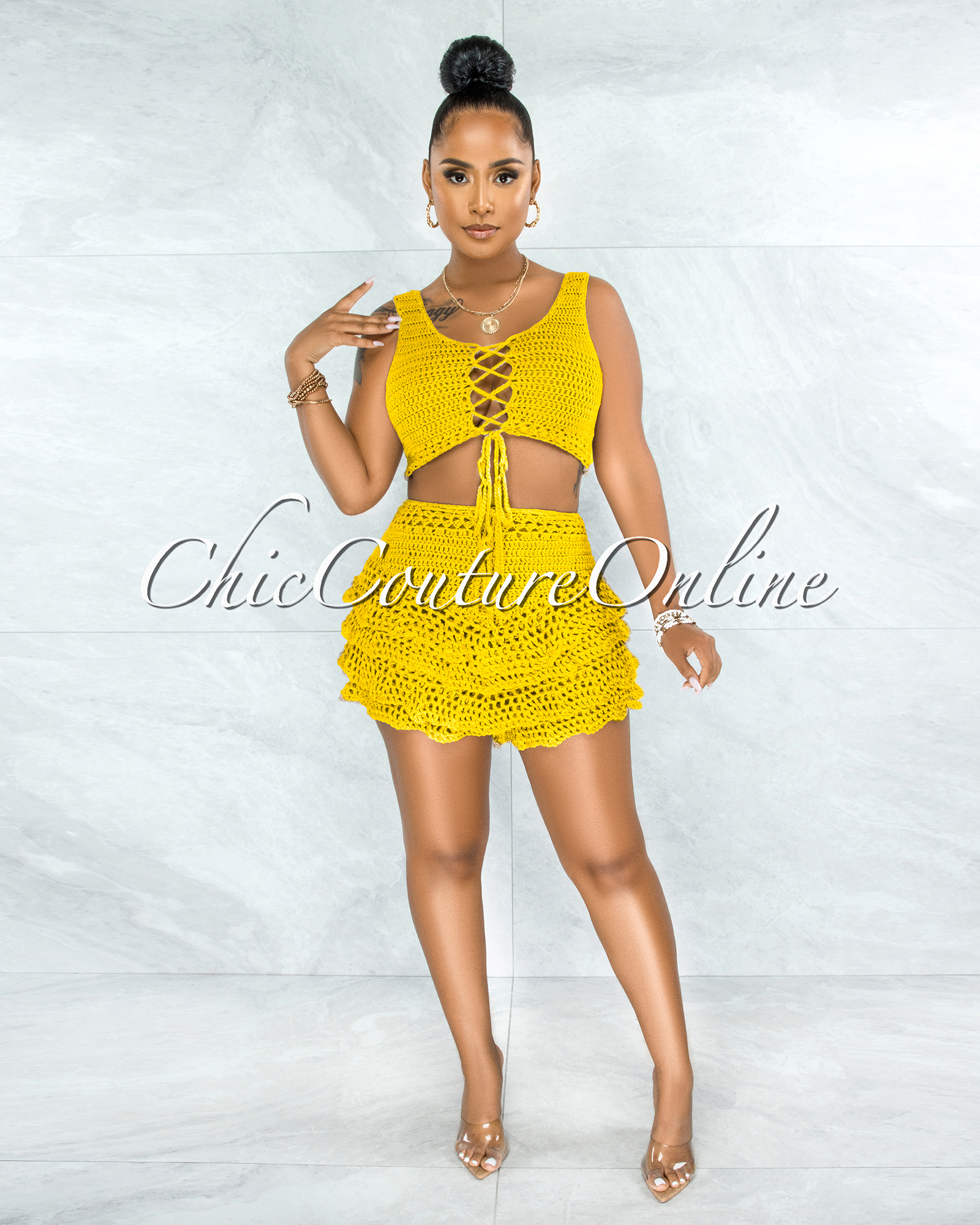 Leary Yellow Crochet Cover-Up Ruffle Skort Set