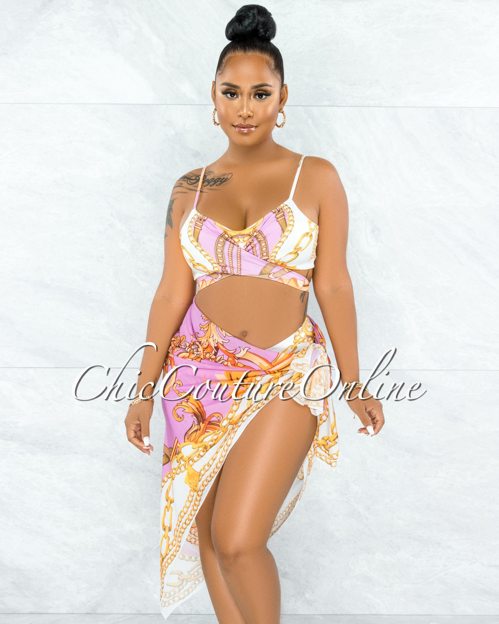 Valterra Pink Gold Print Pareo Three Piece Set Swimsuit