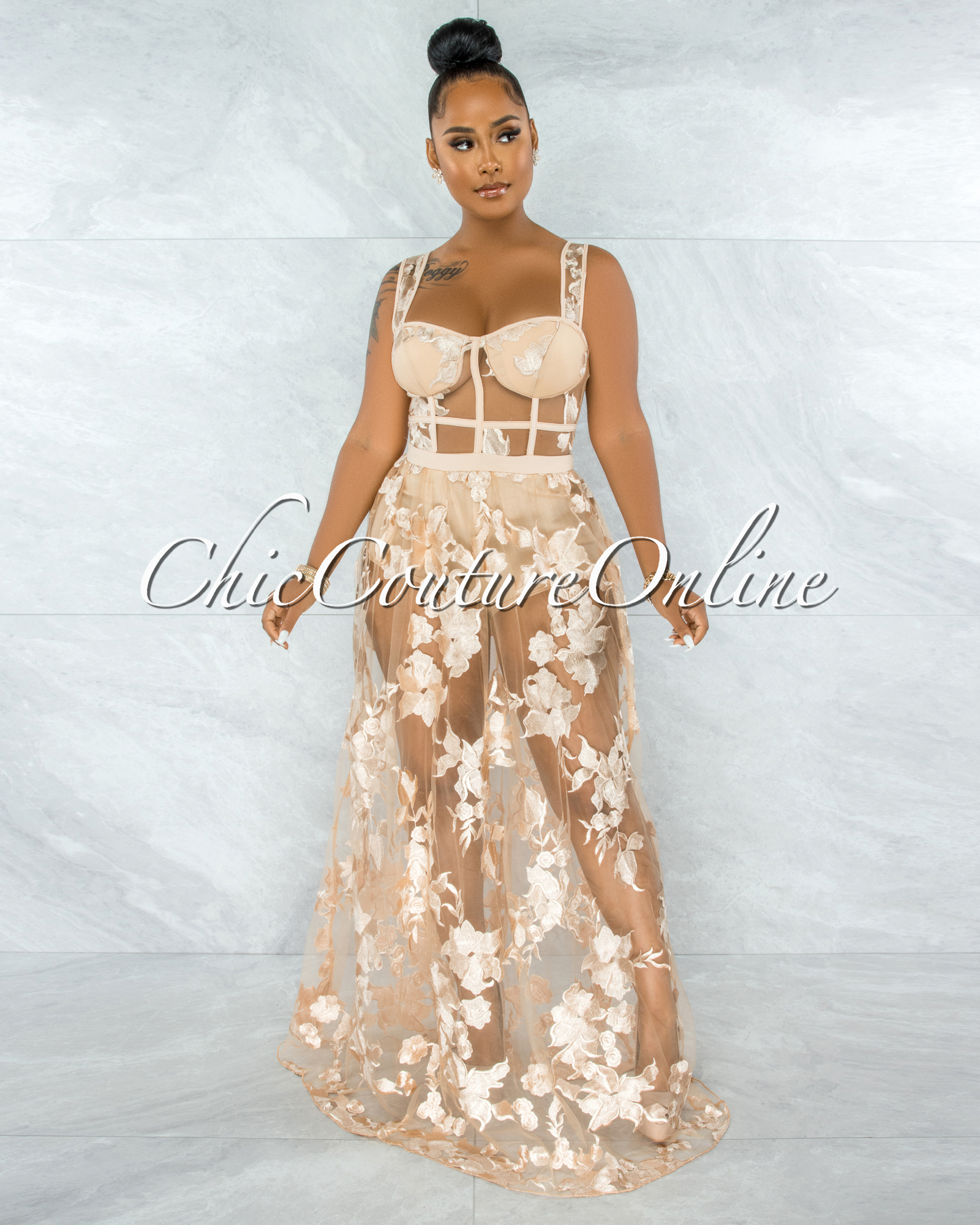 Lidonie Nude Embroidery Mesh Maxi Padded Dress