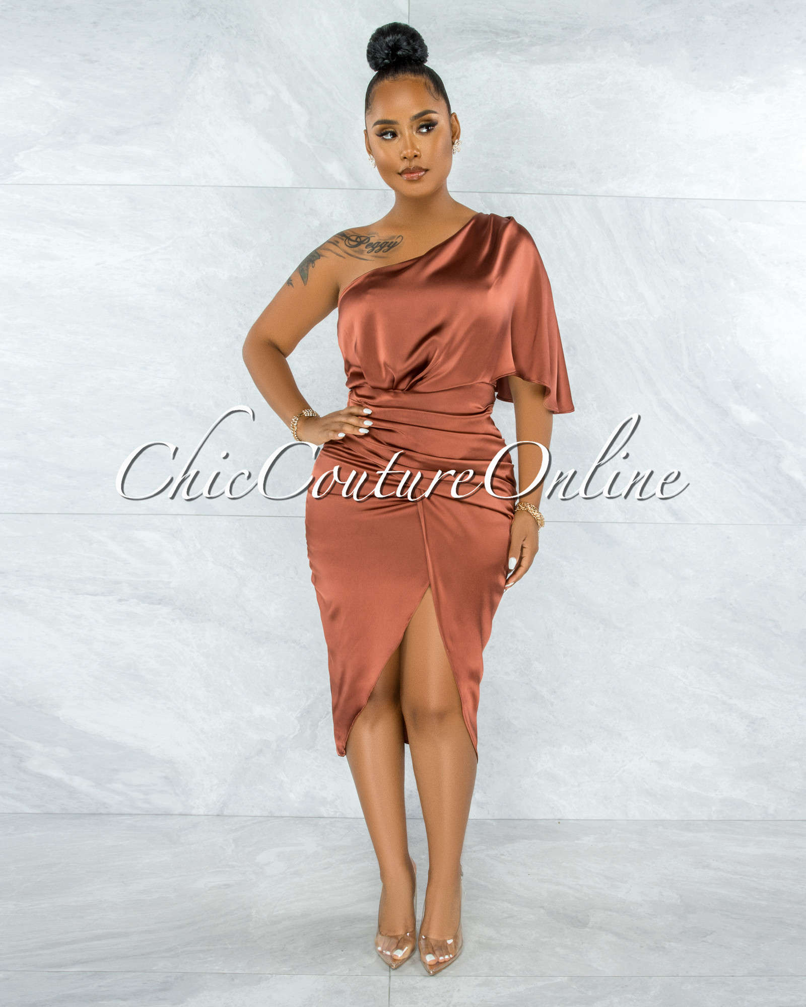 Babette Copper Draped Single Shoulder Midi Dress