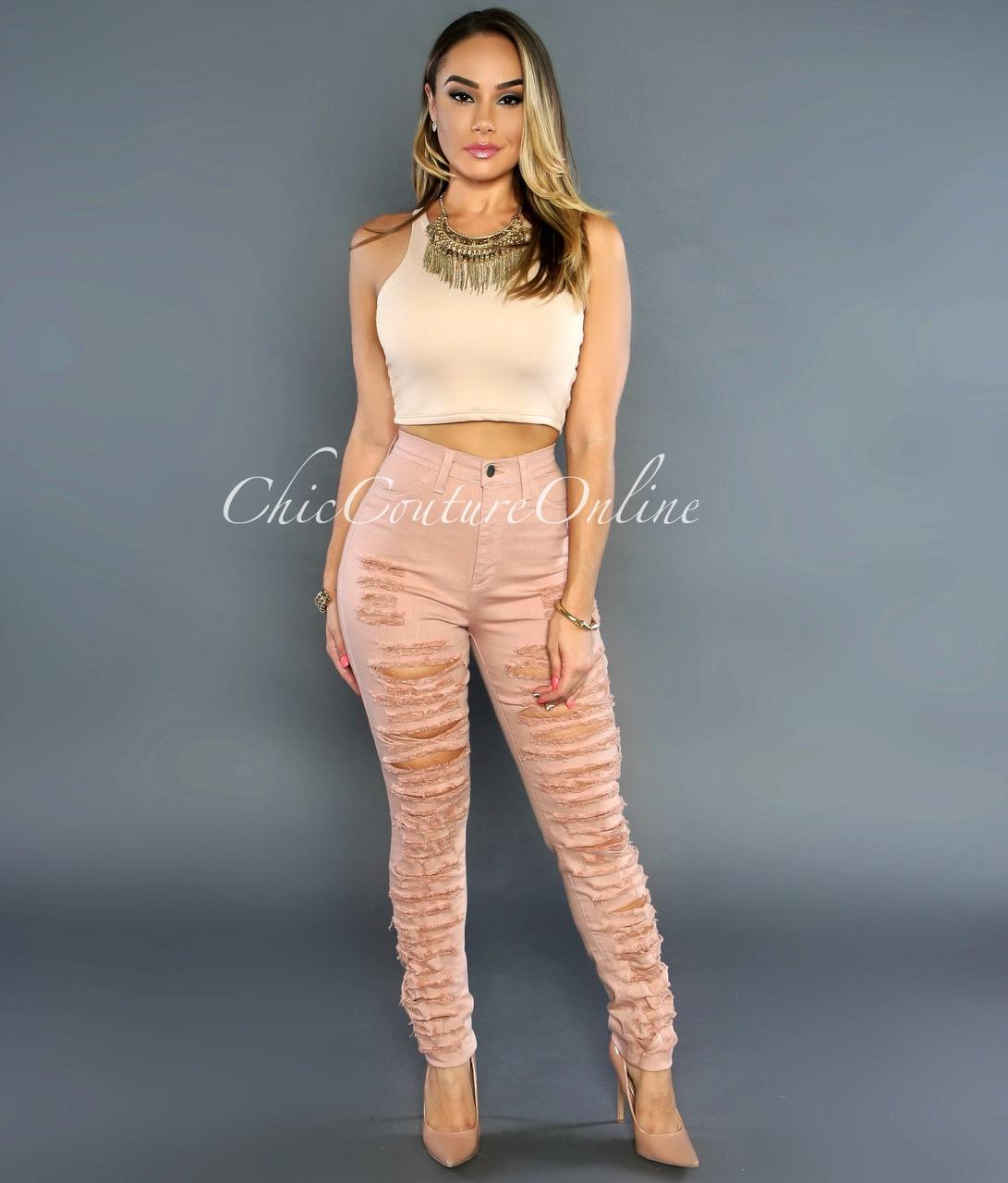 Harper  Blush Denim Destroyed High-Waist Skinny Jeans