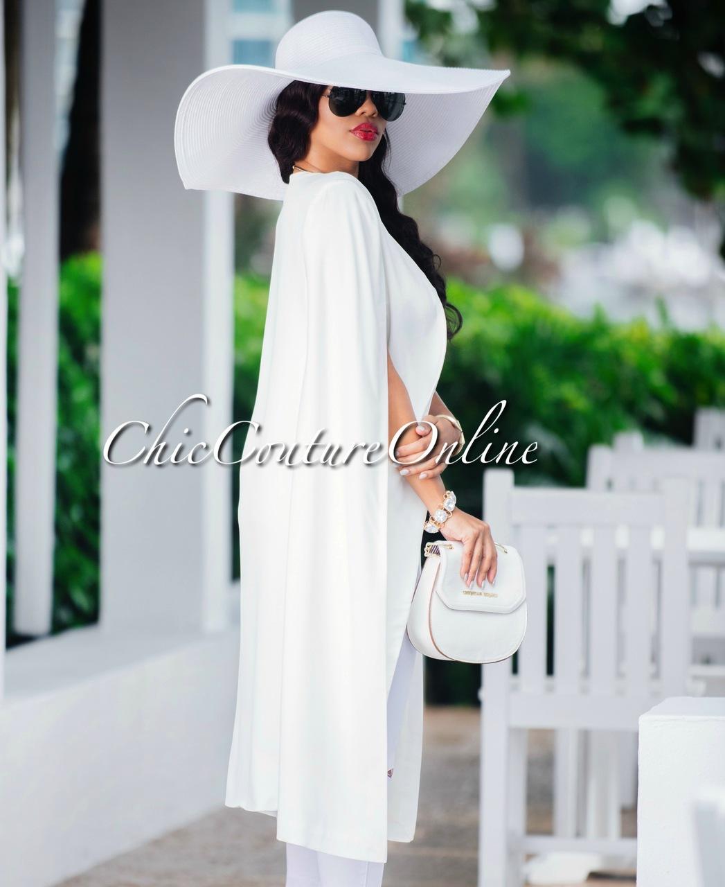 Lena White Oversized Brim Straw Floppy Hat