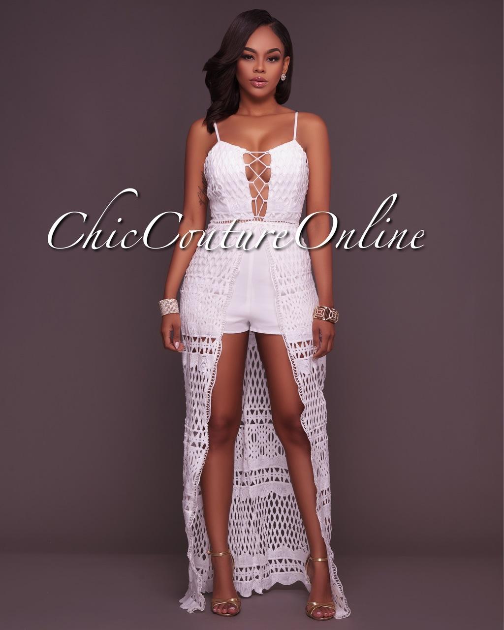 Yarah Off-White Crochet Romper Maxi Dress